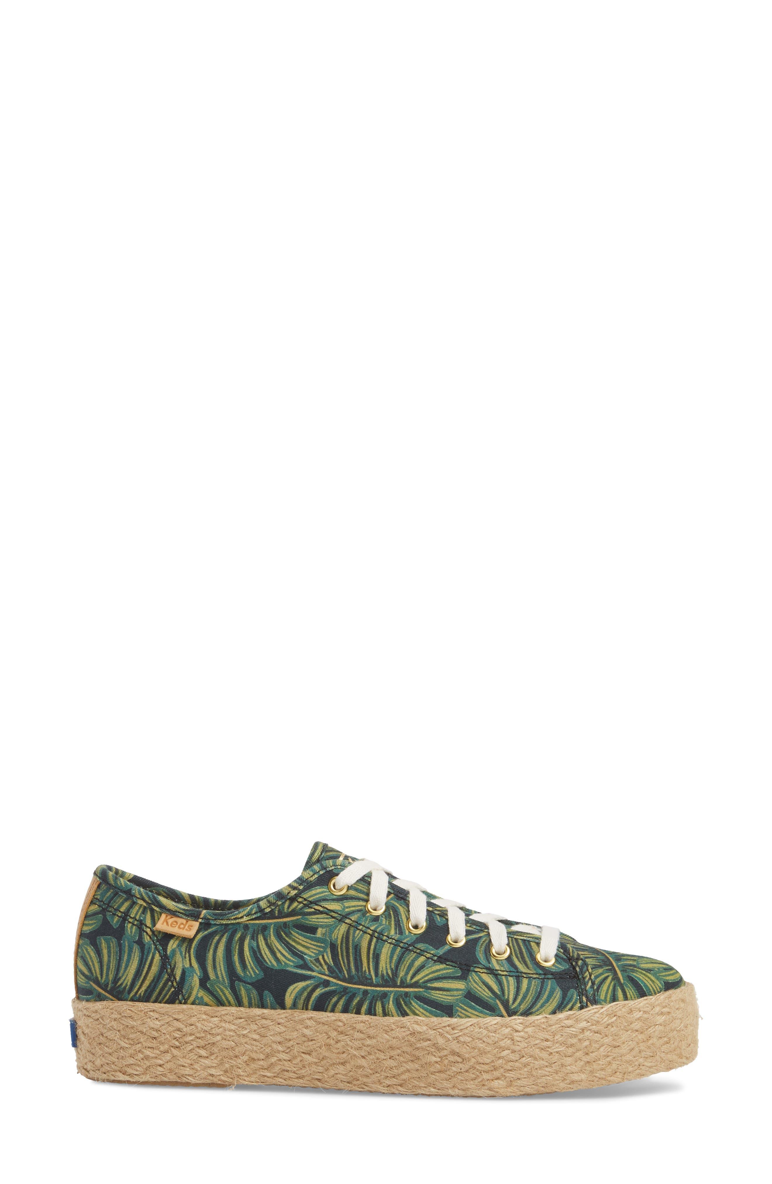 KEDS<SUP>®</SUP>, x Rifle Paper Co. Triple Kick Palms Platform Sneaker, Alternate thumbnail 3, color, 001