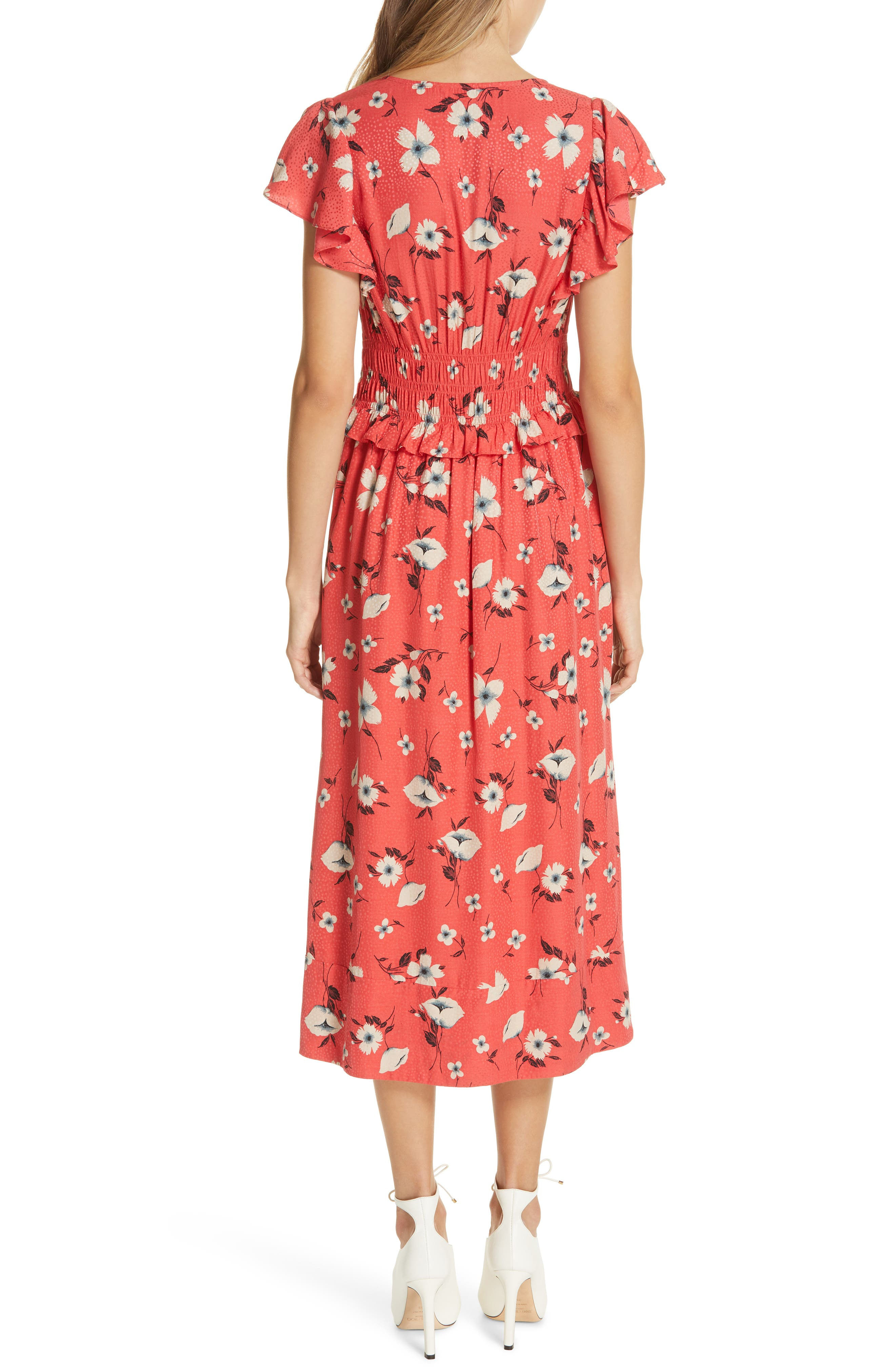 REBECCA TAYLOR, Daniella Floral Jacquard Silk Blend Dress, Alternate thumbnail 2, color, PUNCH COMBO