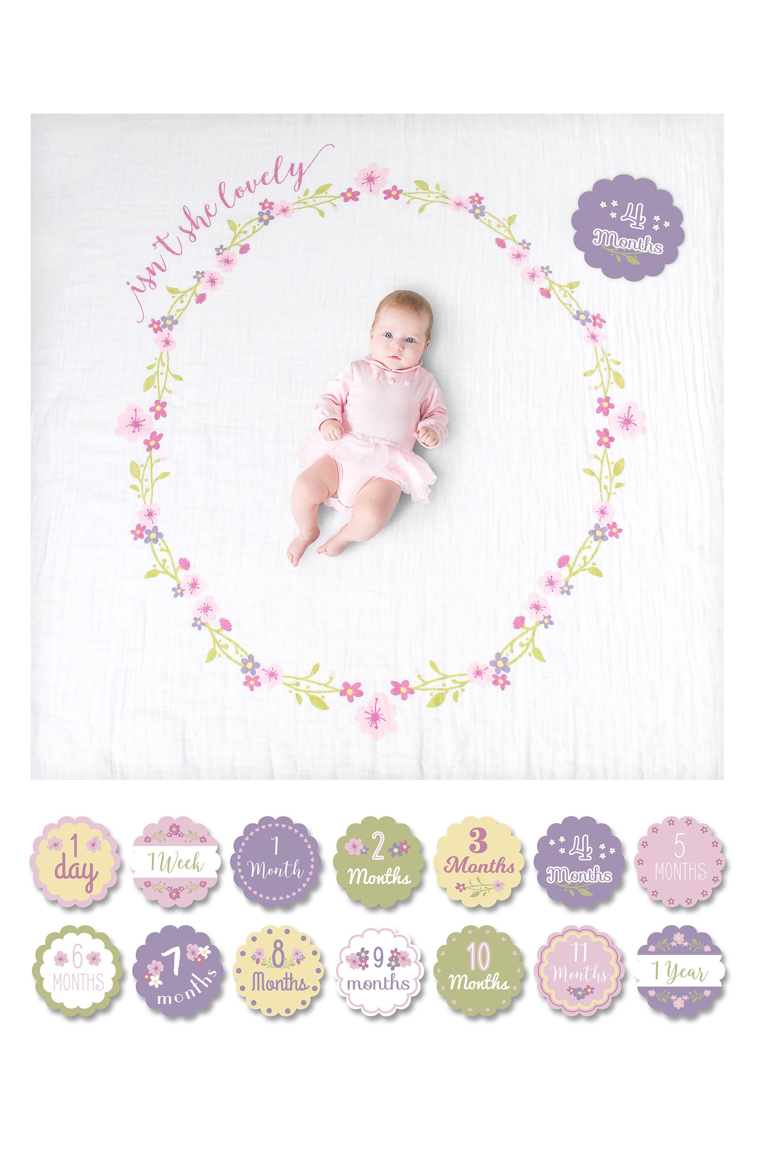 LULUJO, Baby's First Year - Isn't She Lovely Muslin Blanket & Milestone Card Set, Alternate thumbnail 3, color, ISNT SHE LOVEY