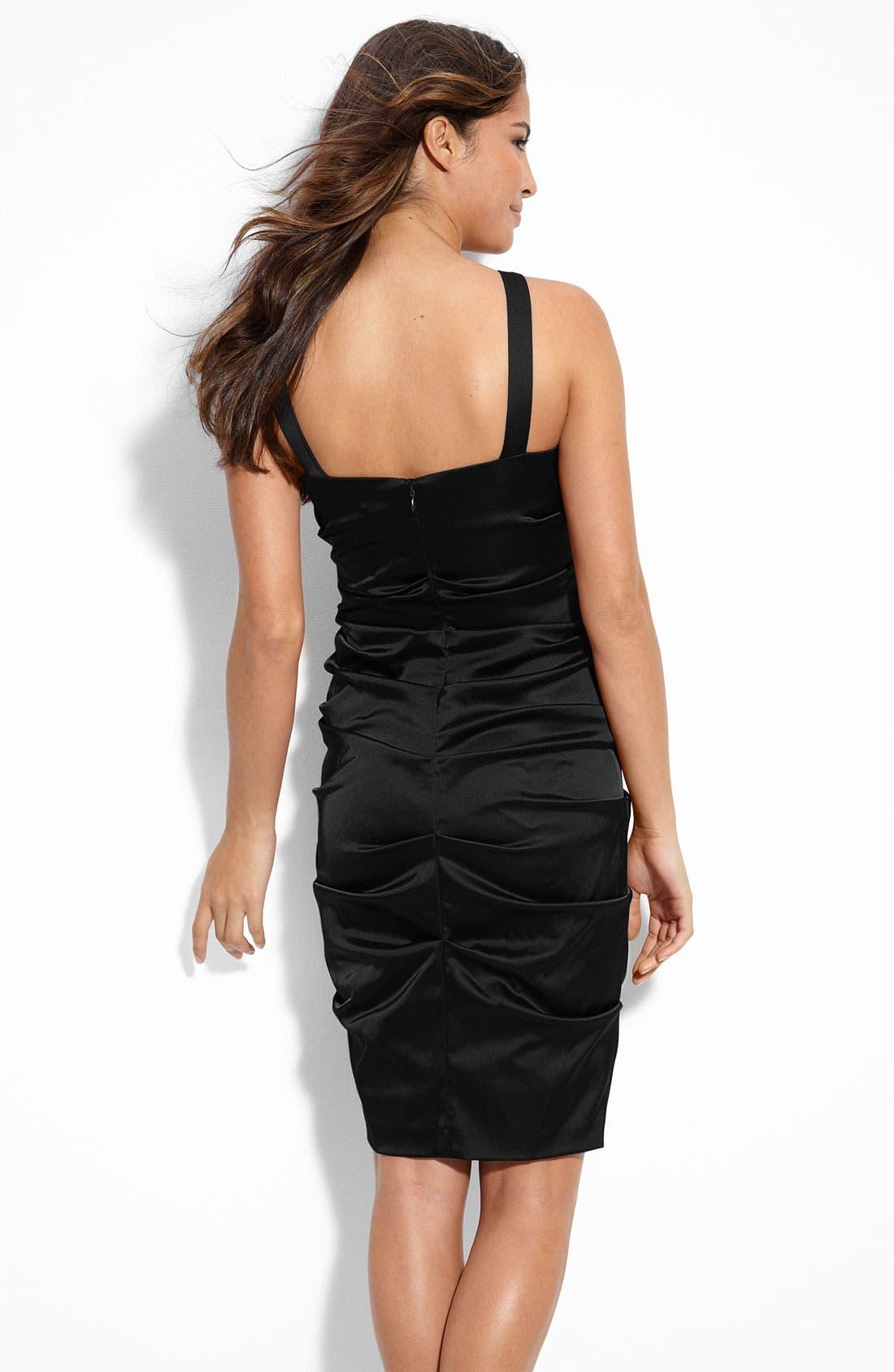 XSCAPE, Ruched Stretch Satin Sheath Dress, Alternate thumbnail 2, color, 002