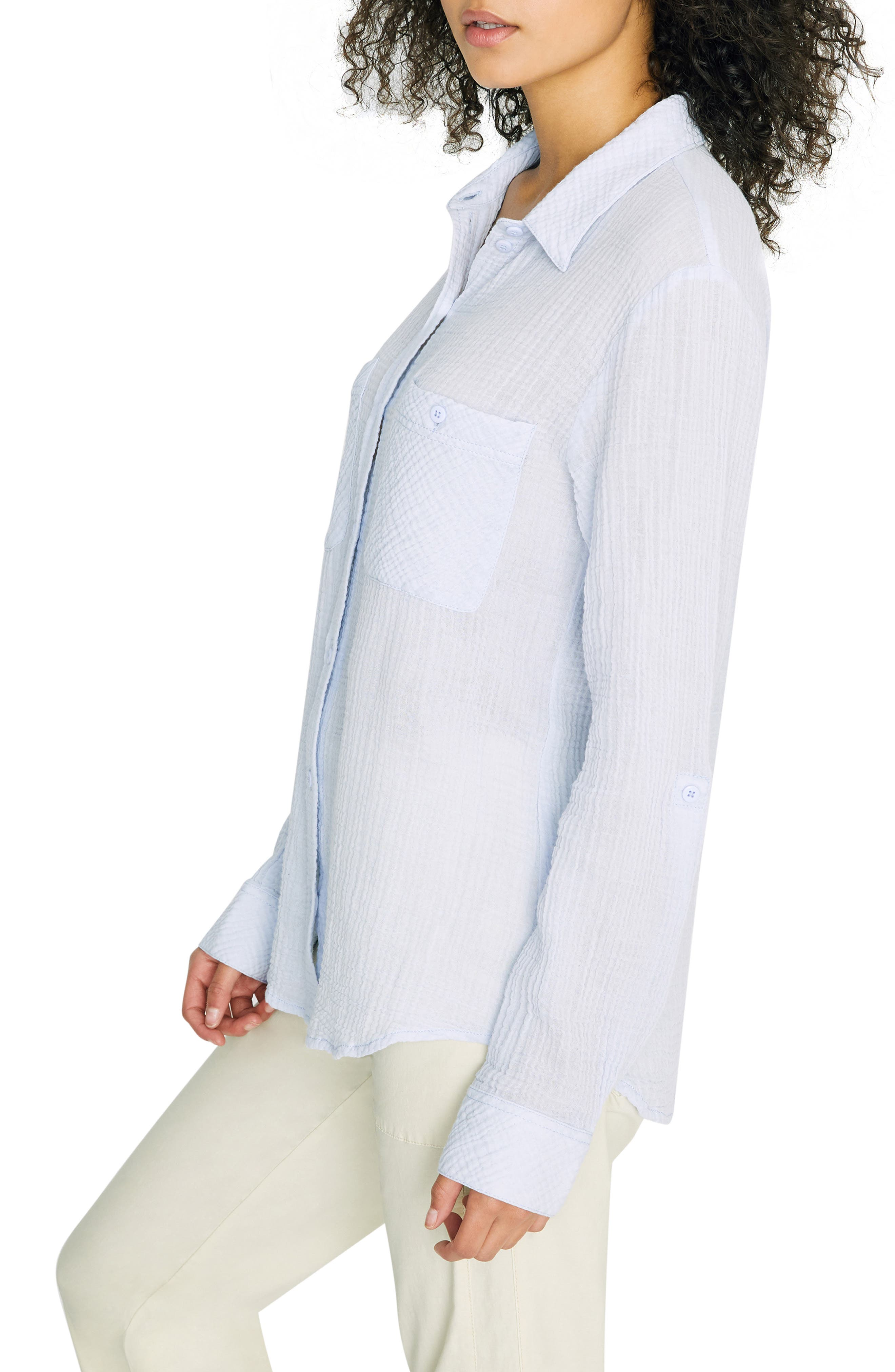 SANCTUARY, Steady Boyfriend Roll Tab Shirt, Alternate thumbnail 3, color, WASHED PERIWINKLE