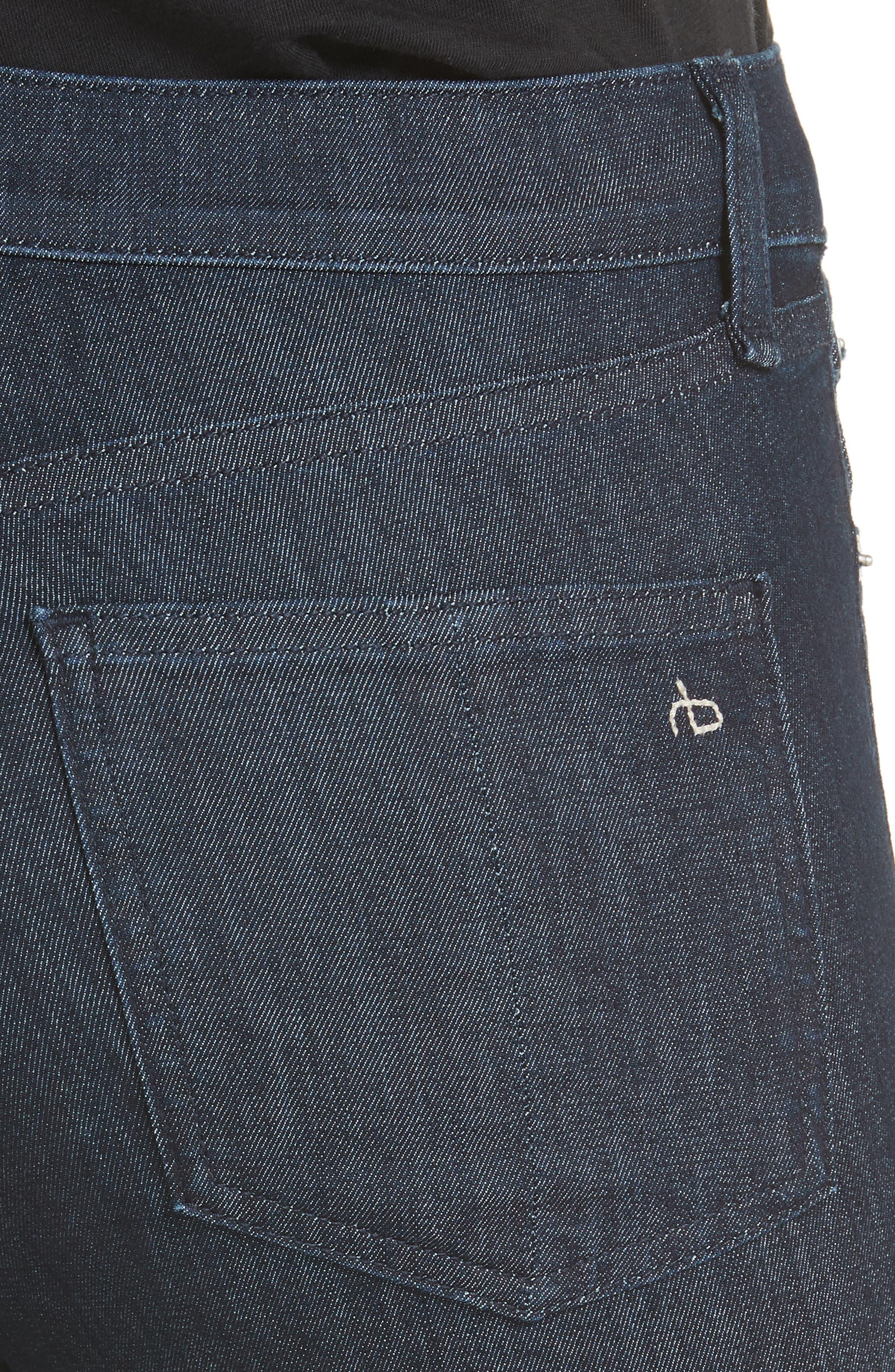RAG & BONE, High Waist Skinny Jeans, Alternate thumbnail 5, color, INDIGO