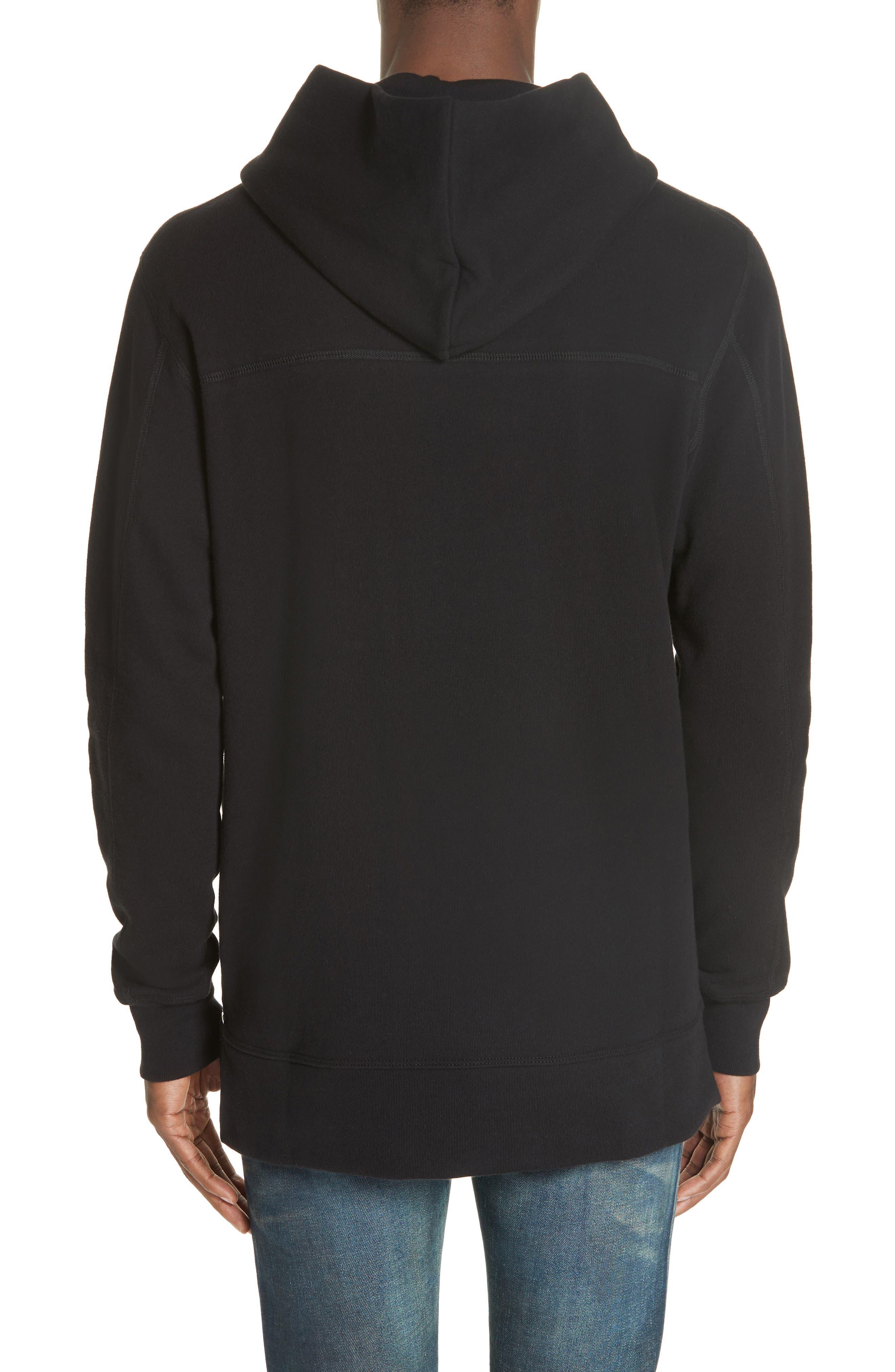 JOHN ELLIOTT, Hooded Villain Sweatshirt, Alternate thumbnail 2, color, BLACK