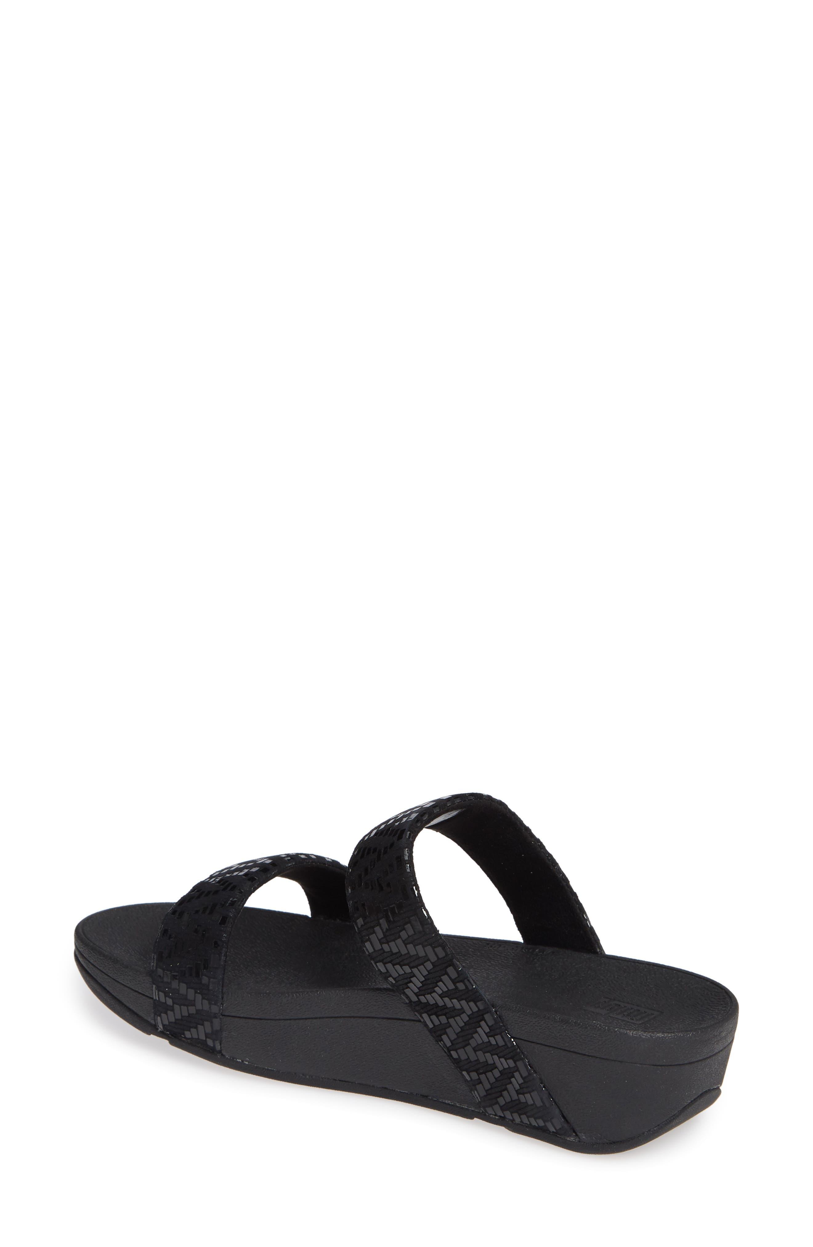 FITFLOP, Lottie Chevron Wedge Slide Sandal, Alternate thumbnail 2, color, BLACK FABRIC