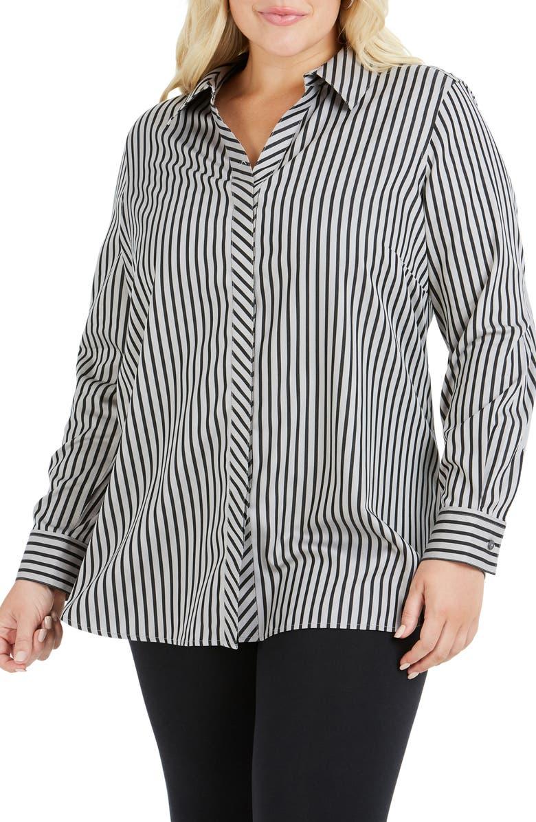 8e2f1185767 Foxcroft Vera Holiday Stripe Tunic Shirt (Plus Size) | Nordstrom