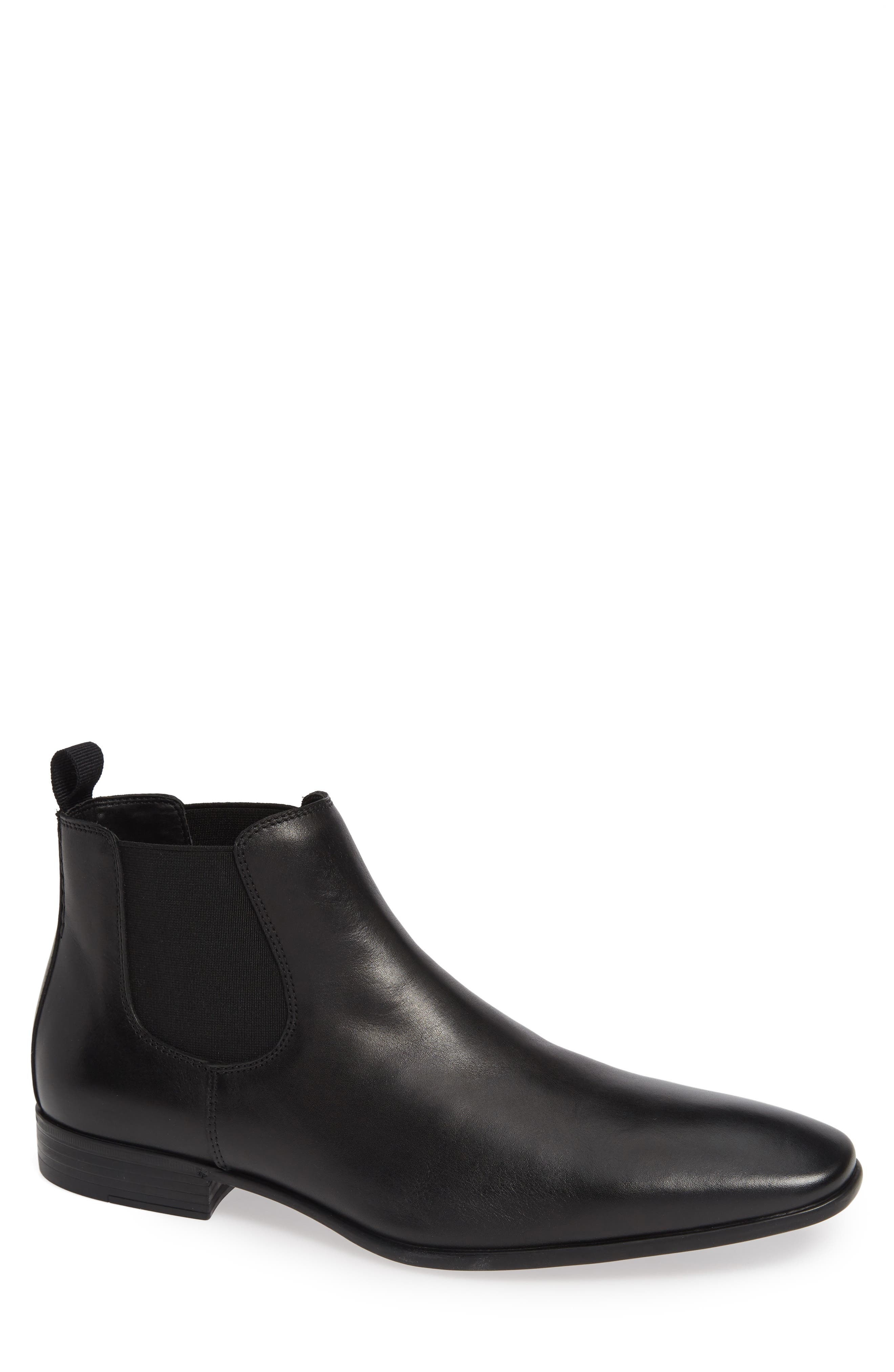 THE RAIL Knox Chelsea Boot, Main, color, BLACK LEATHER
