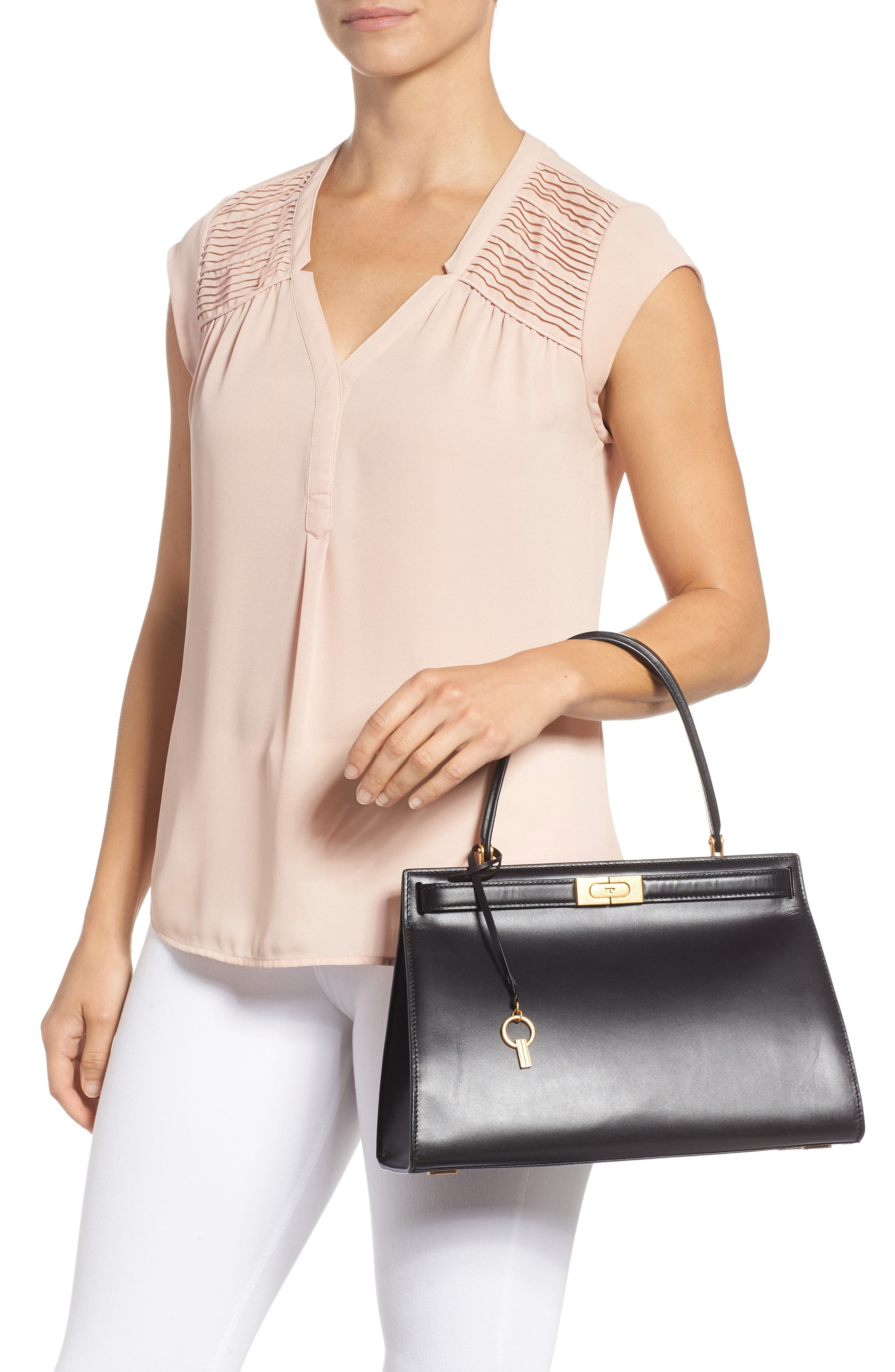 TORY BURCH, Lee Radziwill Leather Bag, Alternate thumbnail 2, color, 001