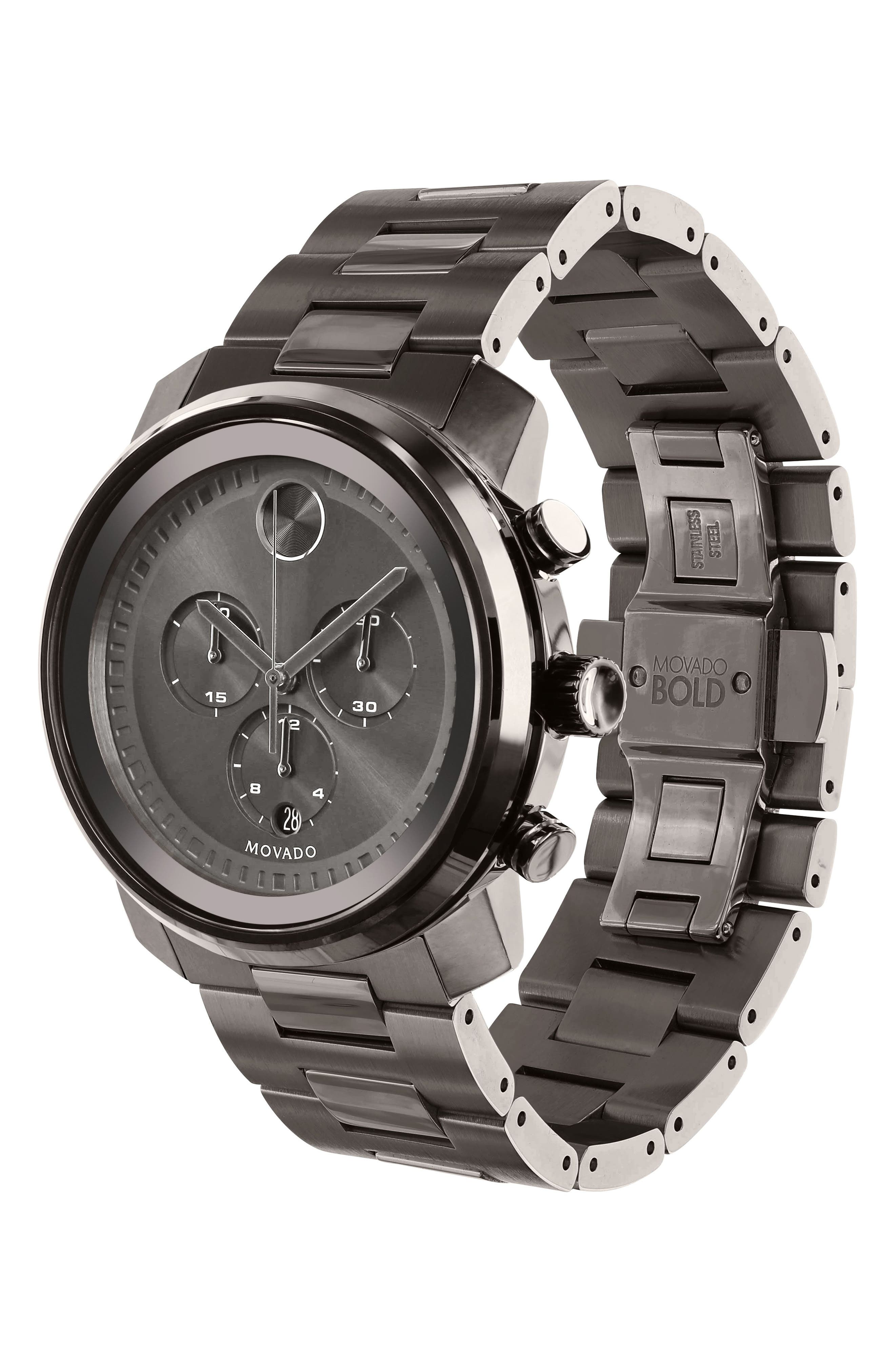 MOVADO, Bold Chronograph Bracelet Watch, 44mm, Alternate thumbnail 3, color, GUNMETAL