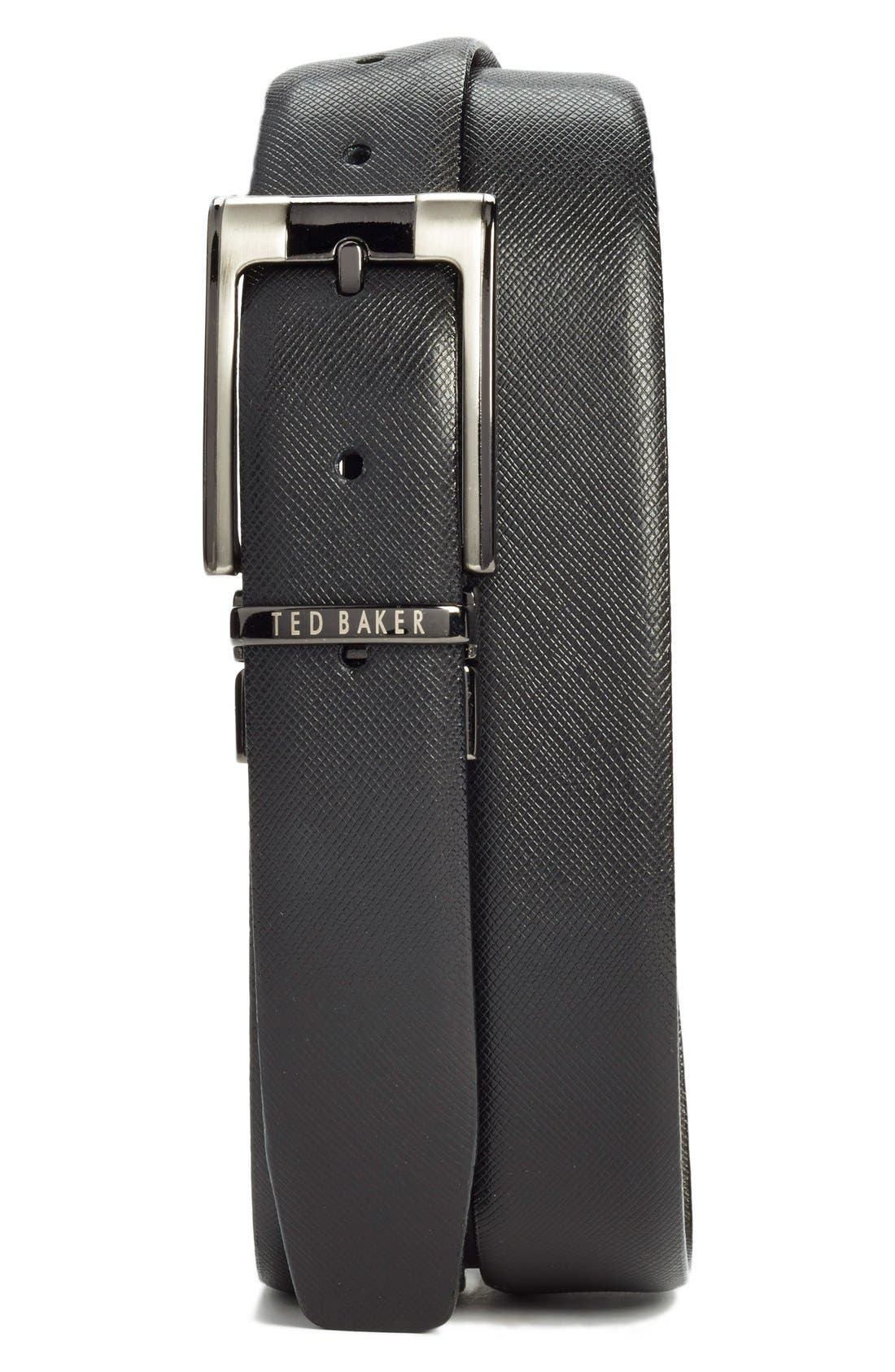 TED BAKER LONDON, Reversible Leather Belt, Main thumbnail 1, color, BLACK/ BROWN
