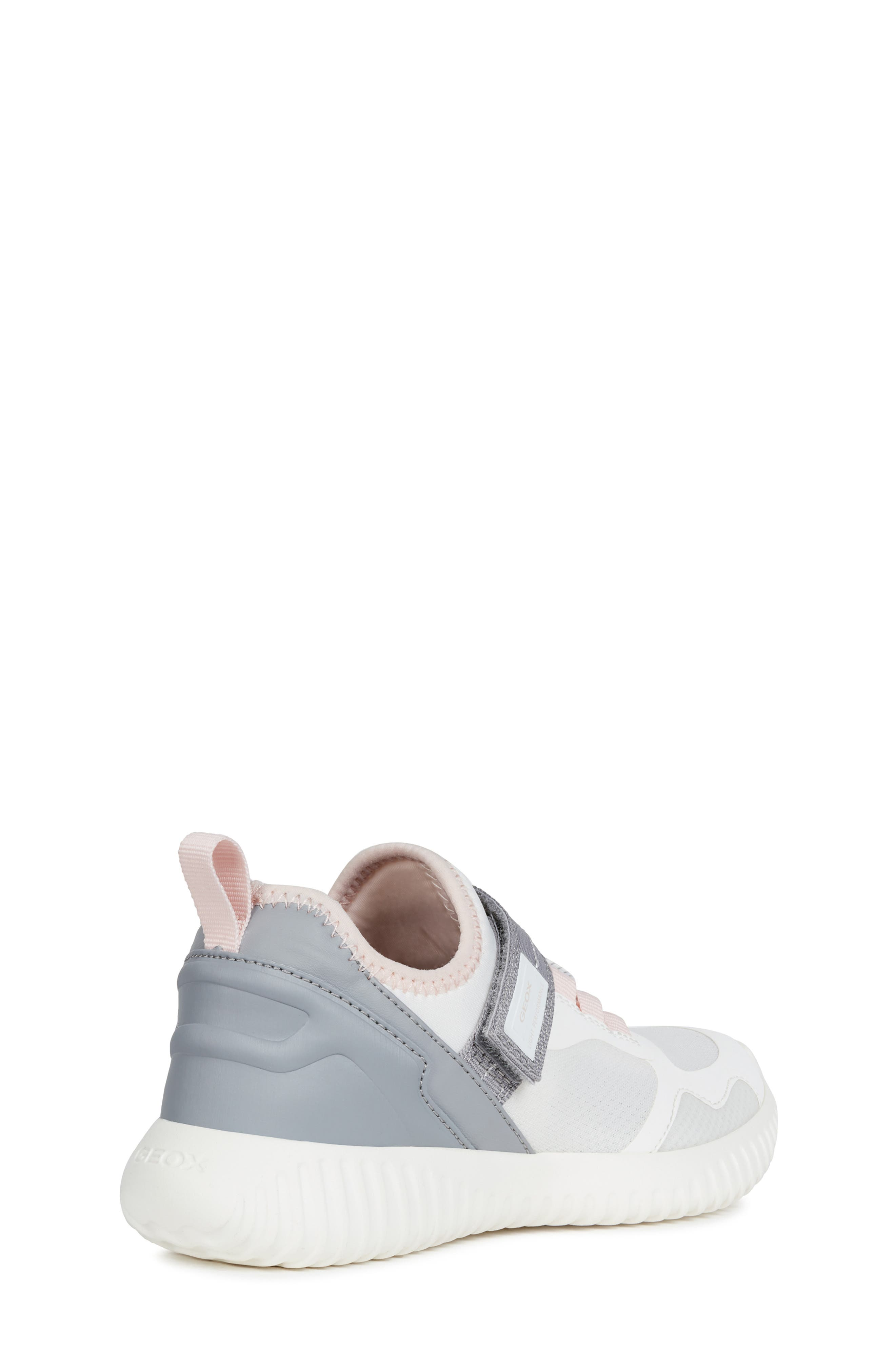GEOX, Waviness Sneaker, Alternate thumbnail 7, color, WHITE/ GREY