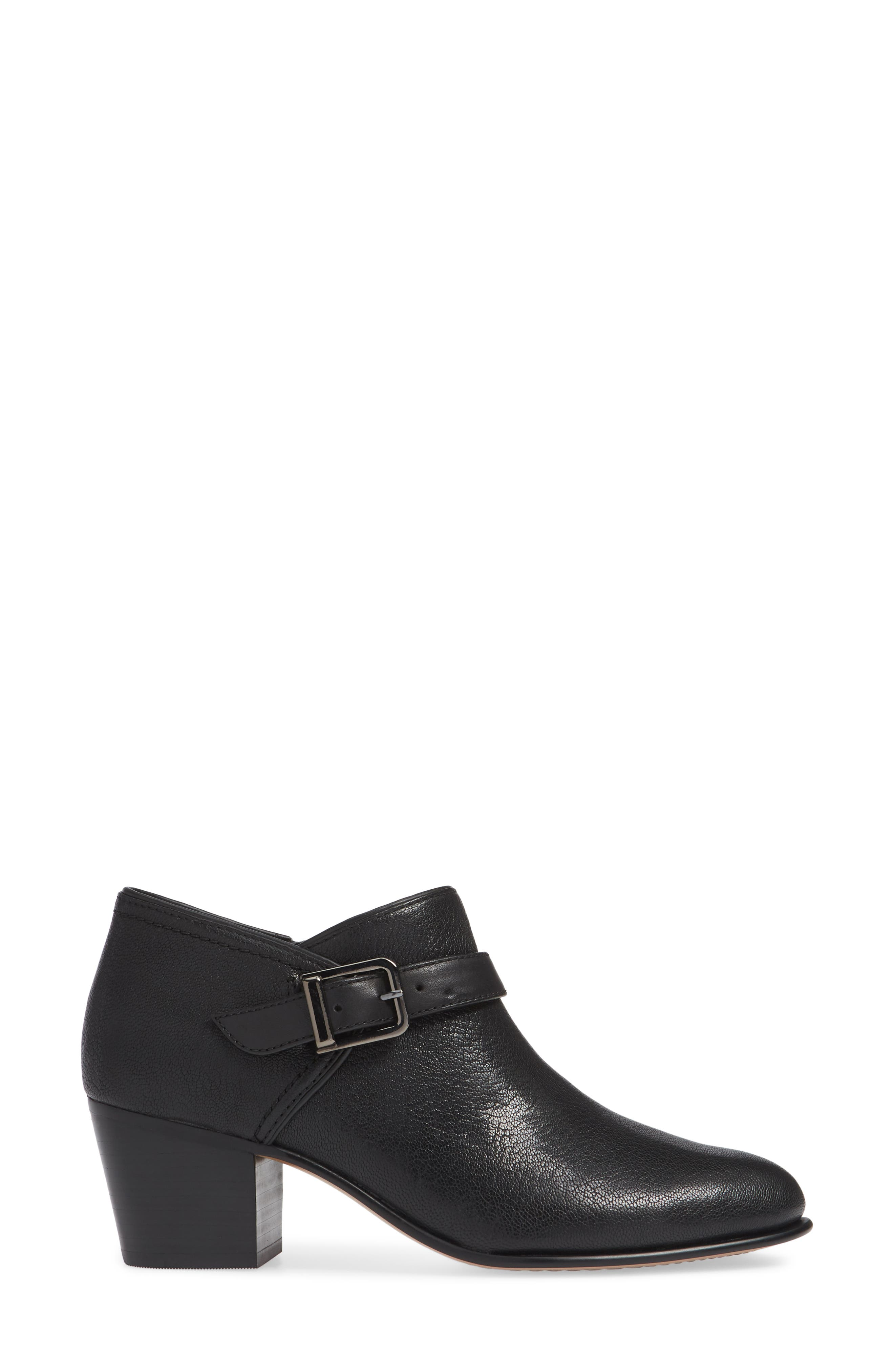 CLARKS<SUP>®</SUP>, Maypearl Milla Bootie, Alternate thumbnail 3, color, BLACK TUMBLED LEATHER