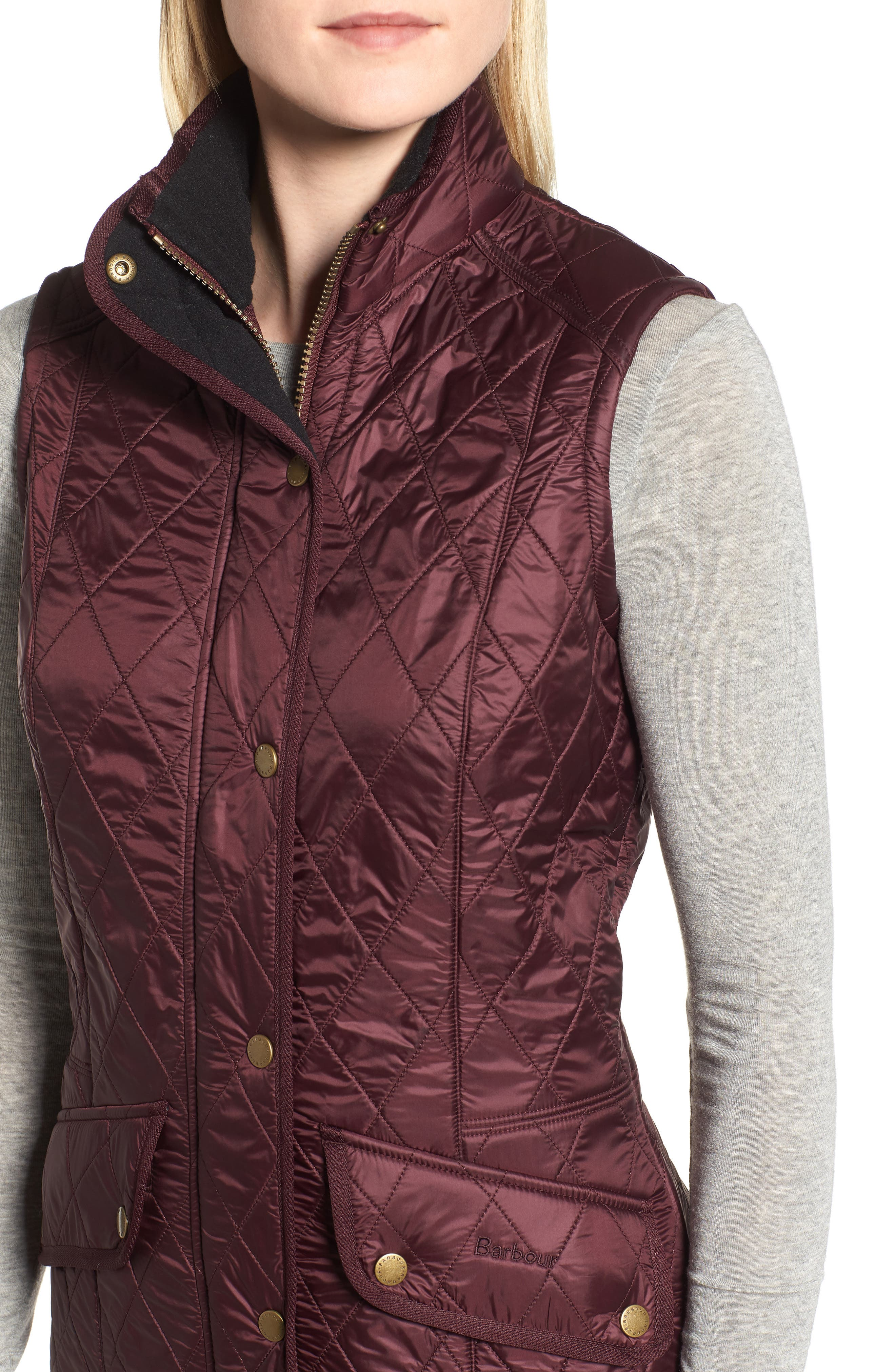 BARBOUR, 'Cavalry' Quilted Vest, Alternate thumbnail 5, color, AUBERGINE/ NAVY