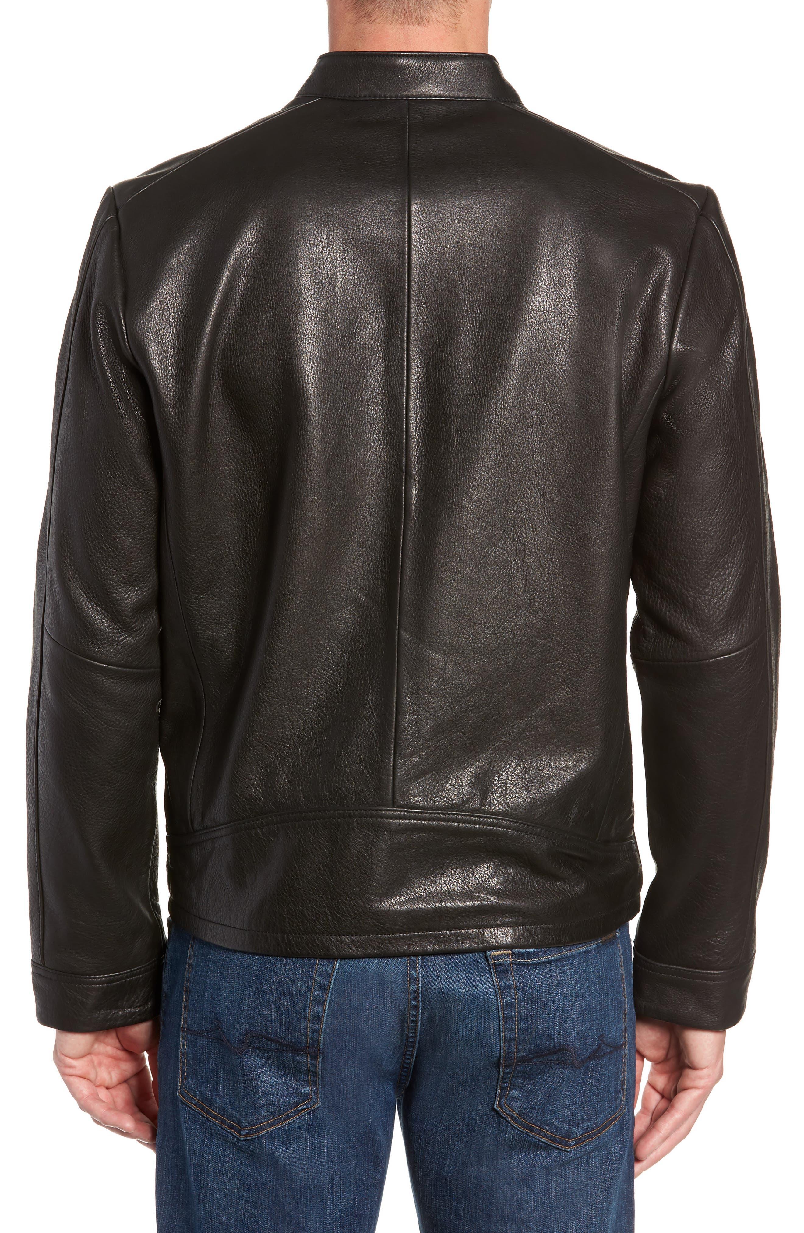UGG<SUP>®</SUP>, Orlando Leather Racer Coat, Alternate thumbnail 2, color, BLACK