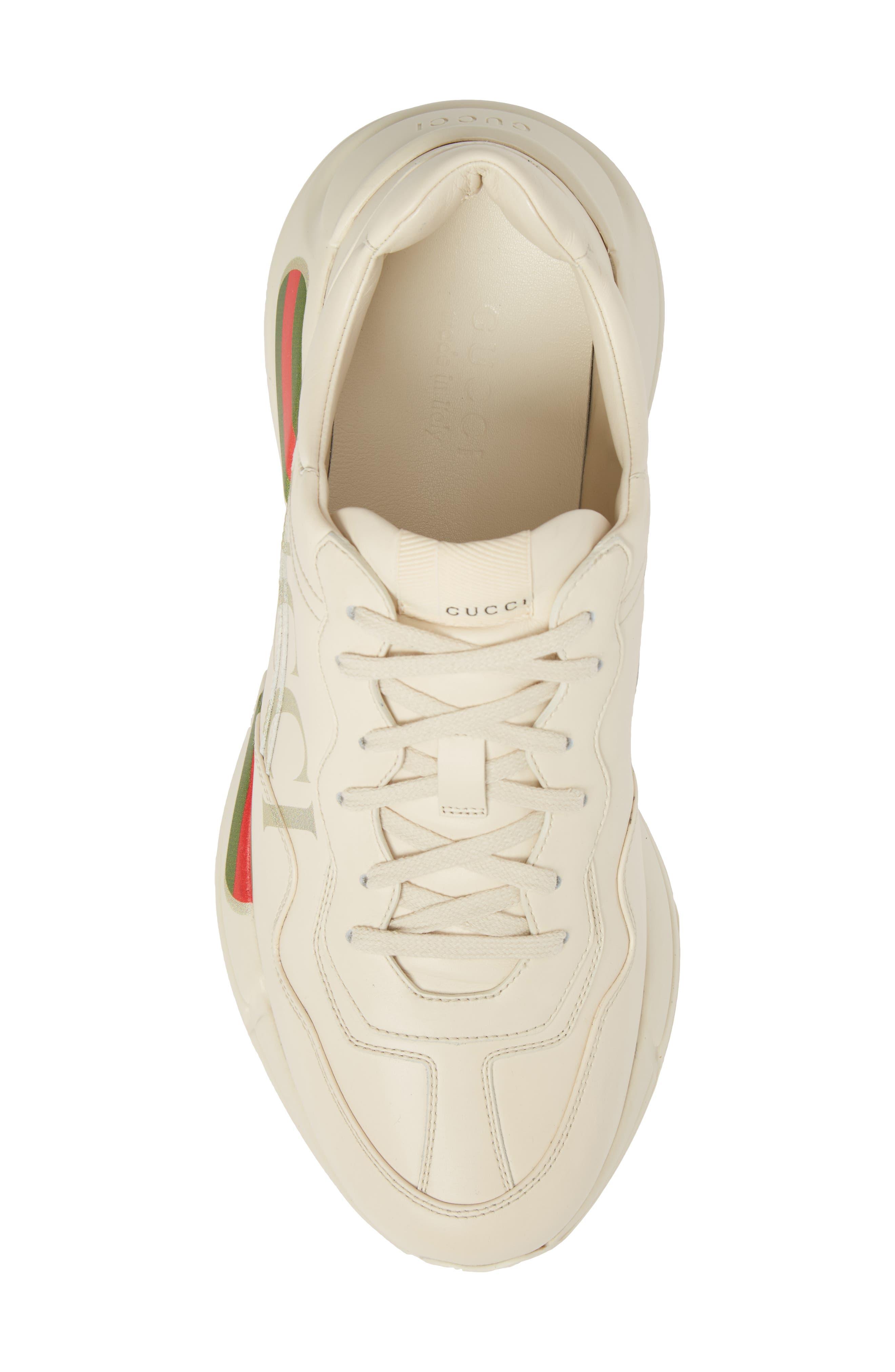 GUCCI, Logo Leather Sneaker, Alternate thumbnail 5, color, WHITE PRINT