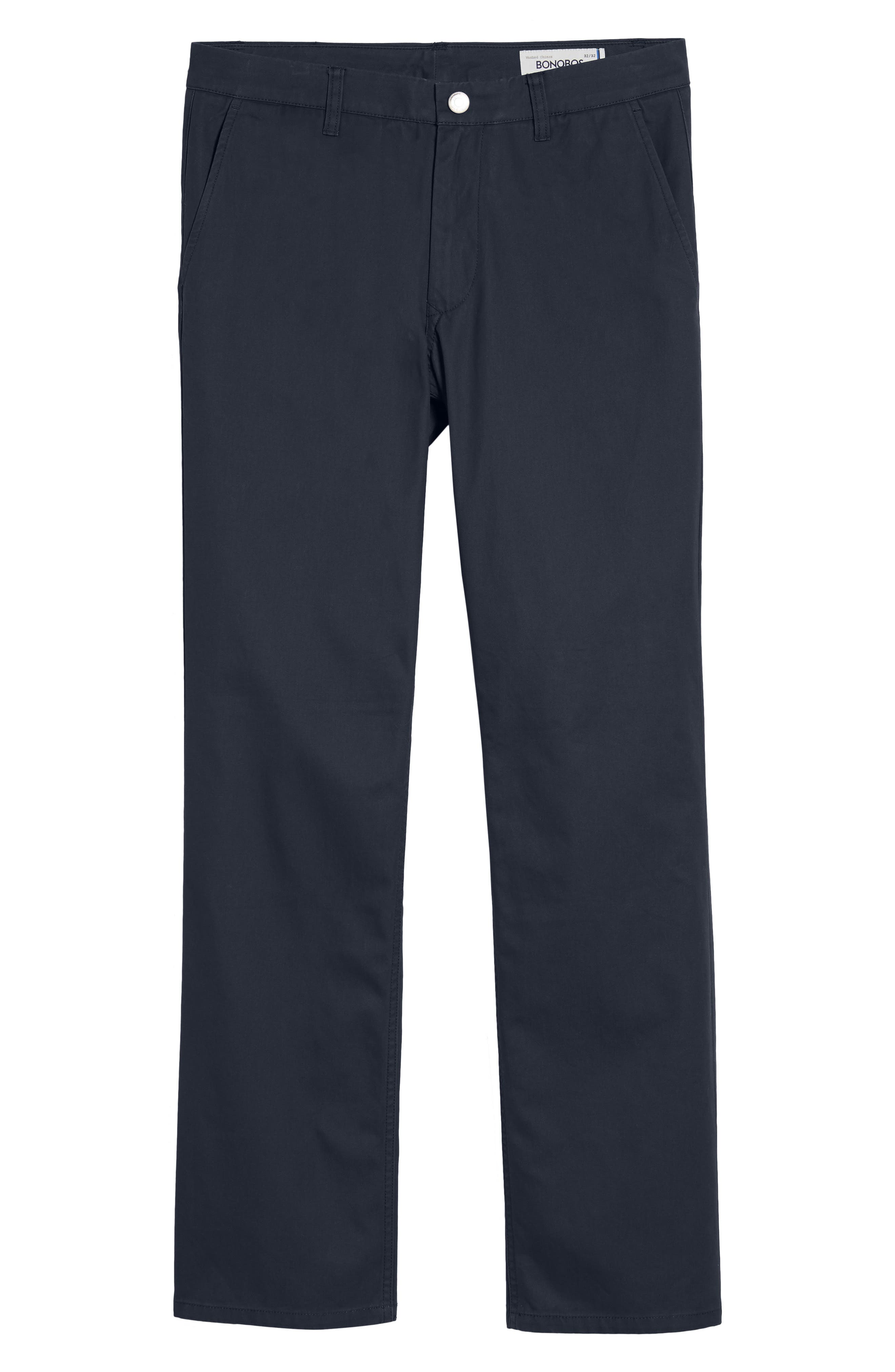 BONOBOS, Straight Fit Washed Chinos, Alternate thumbnail 5, color, JET BLUE