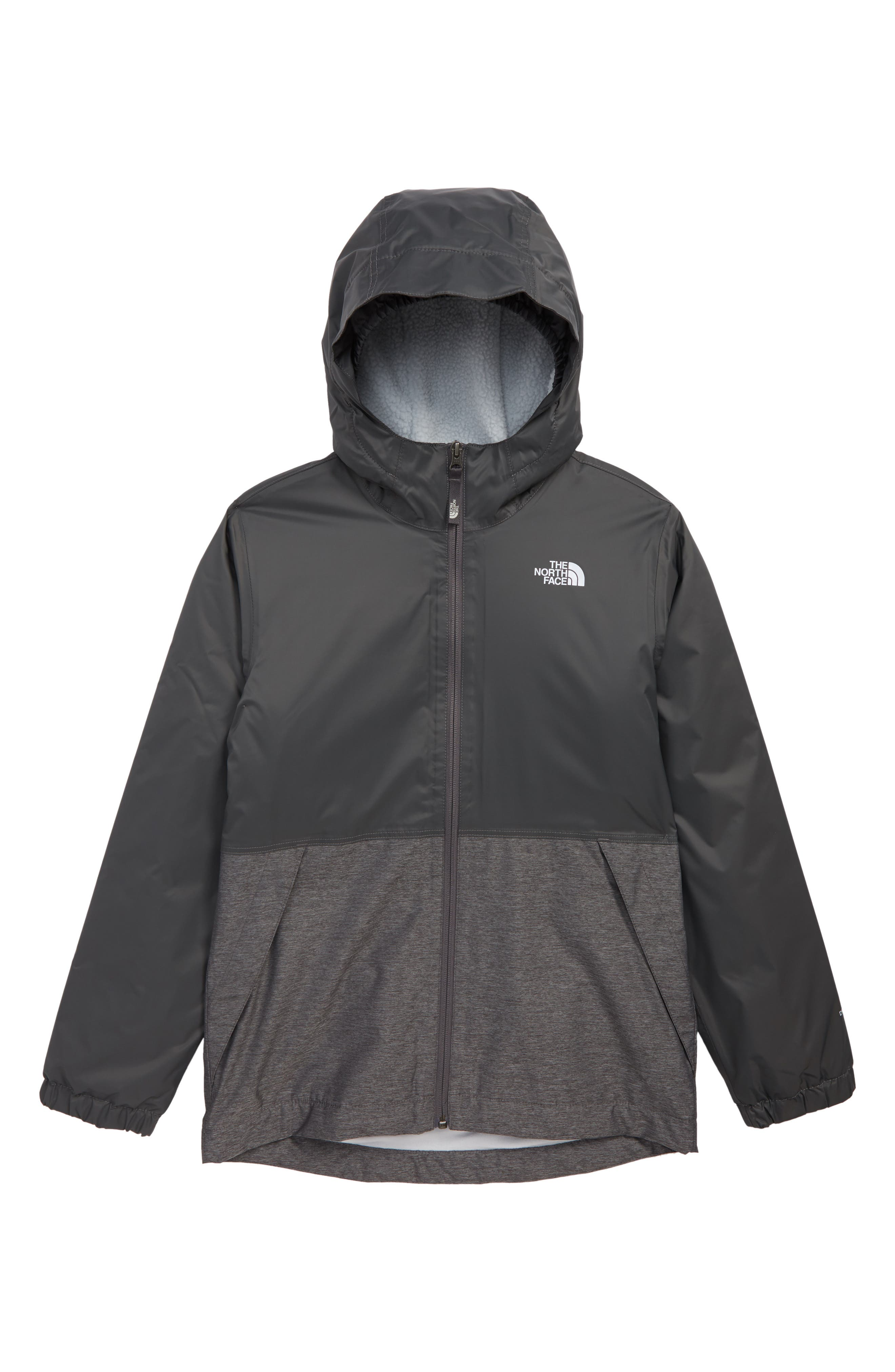 THE NORTH FACE, Warm Storm Hooded Waterproof Jacket, Main thumbnail 1, color, GRAPHITE GREY