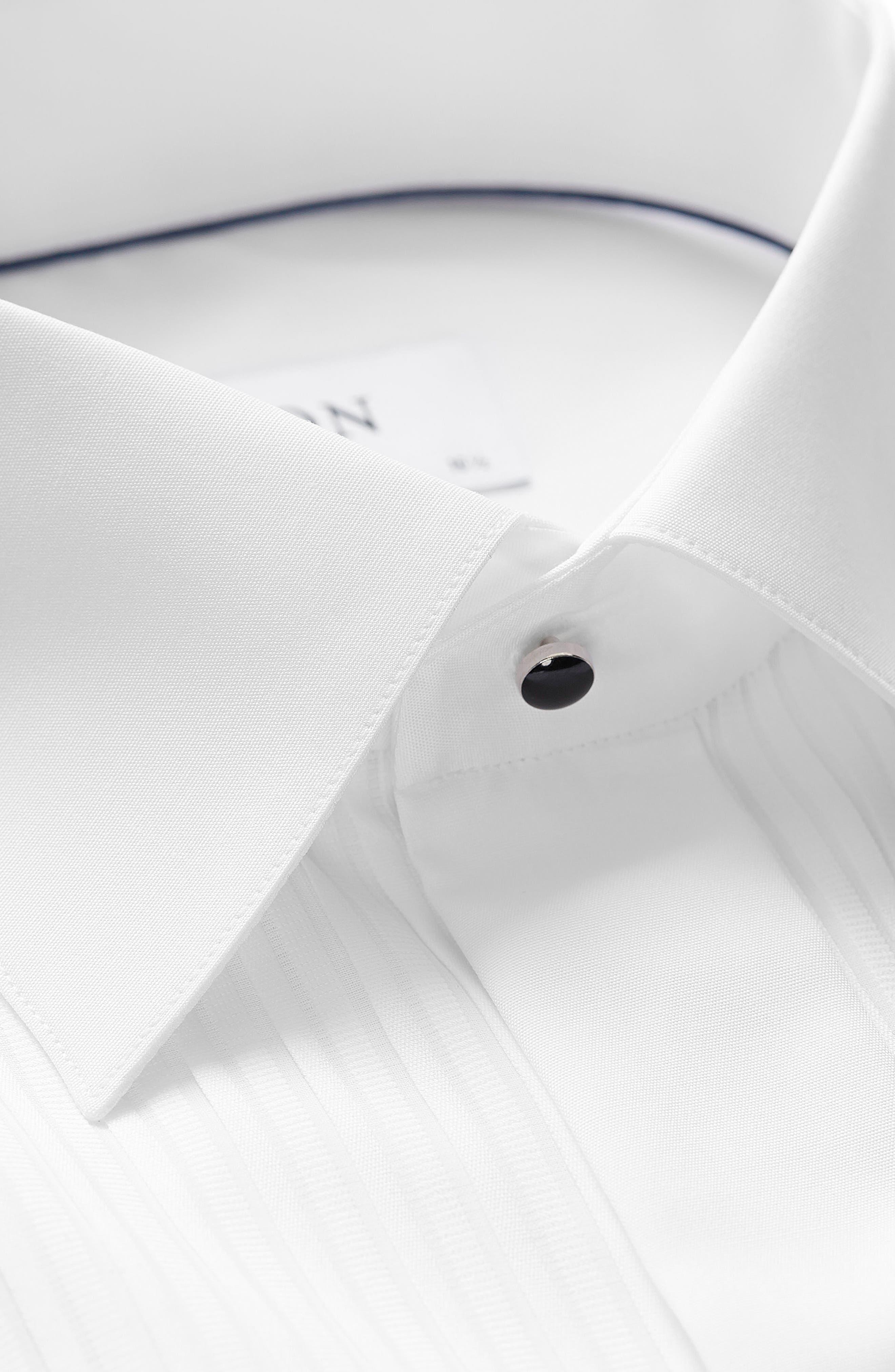 ETON, Slim Fit Pleated Bib Tuxedo Shirt, Alternate thumbnail 4, color, WHITE