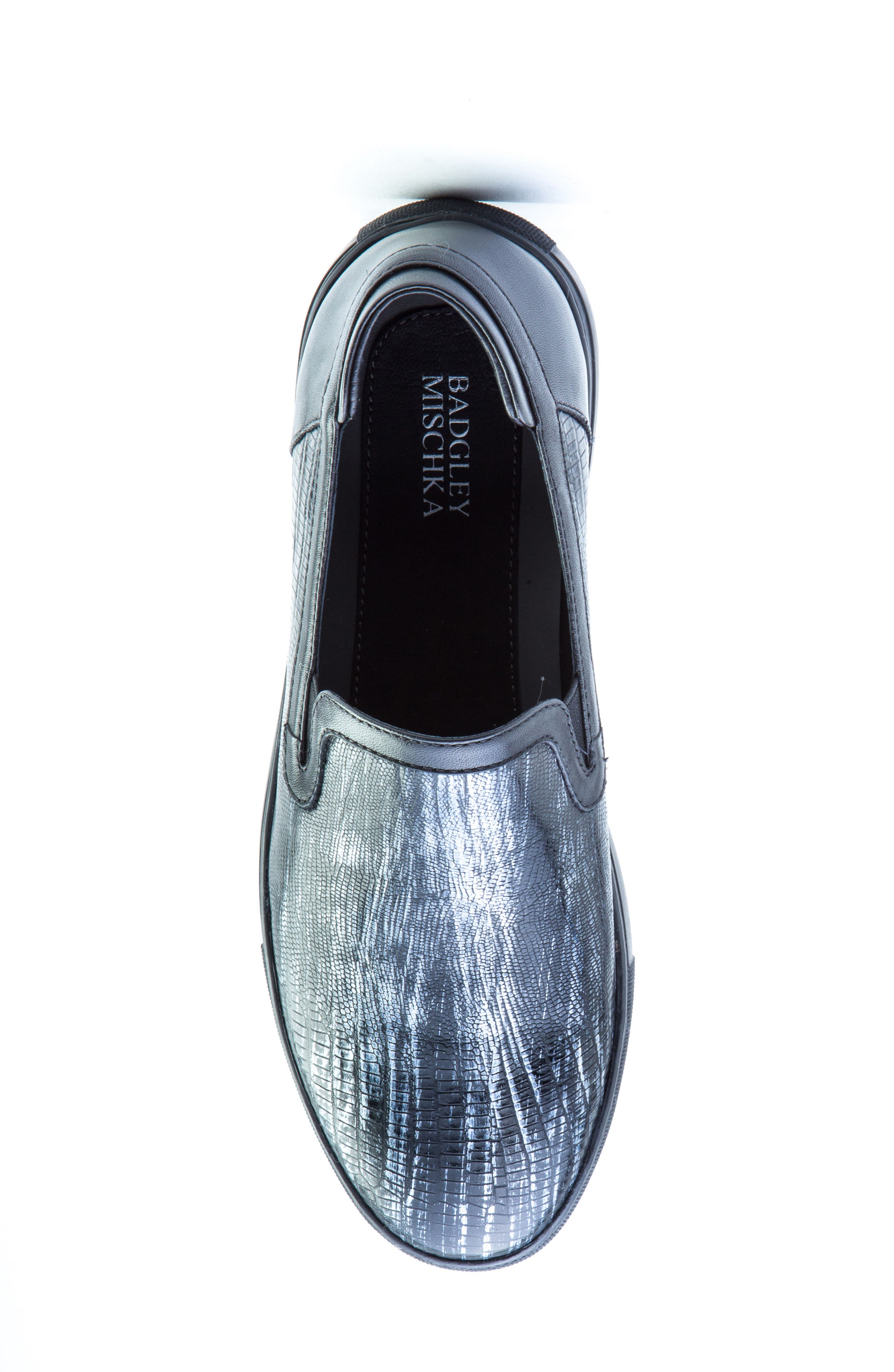 BADGLEY MISCHKA COLLECTION, Badgley Mischka Bogart Sneaker, Alternate thumbnail 5, color, BLACK LEATHER