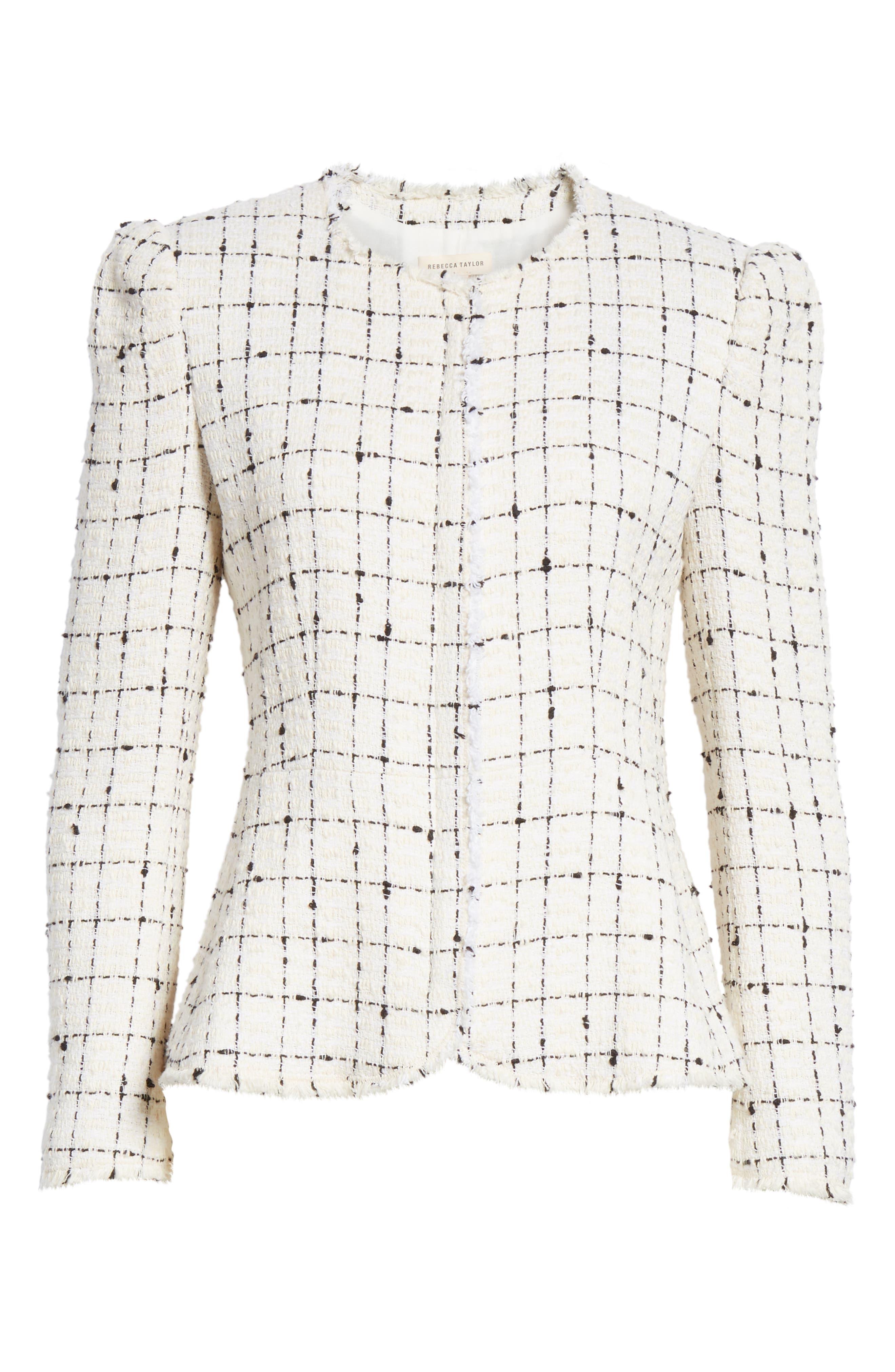 REBECCA TAYLOR, Plaid Tweed Zip Jacket, Alternate thumbnail 6, color, CREAM COMBO