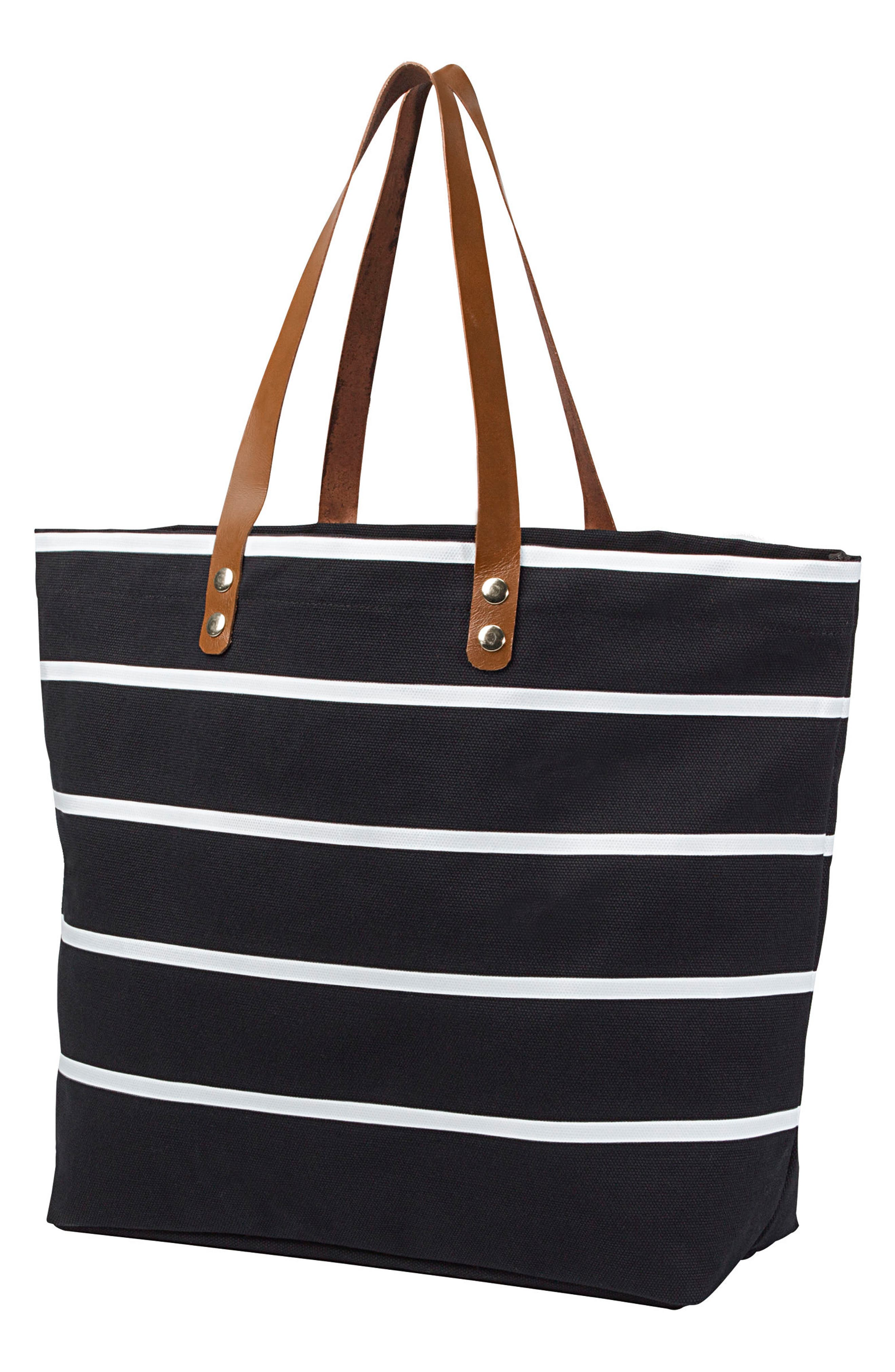 CATHY'S CONCEPTS, Monogram Large Canvas Tote, Main thumbnail 1, color, BLACK