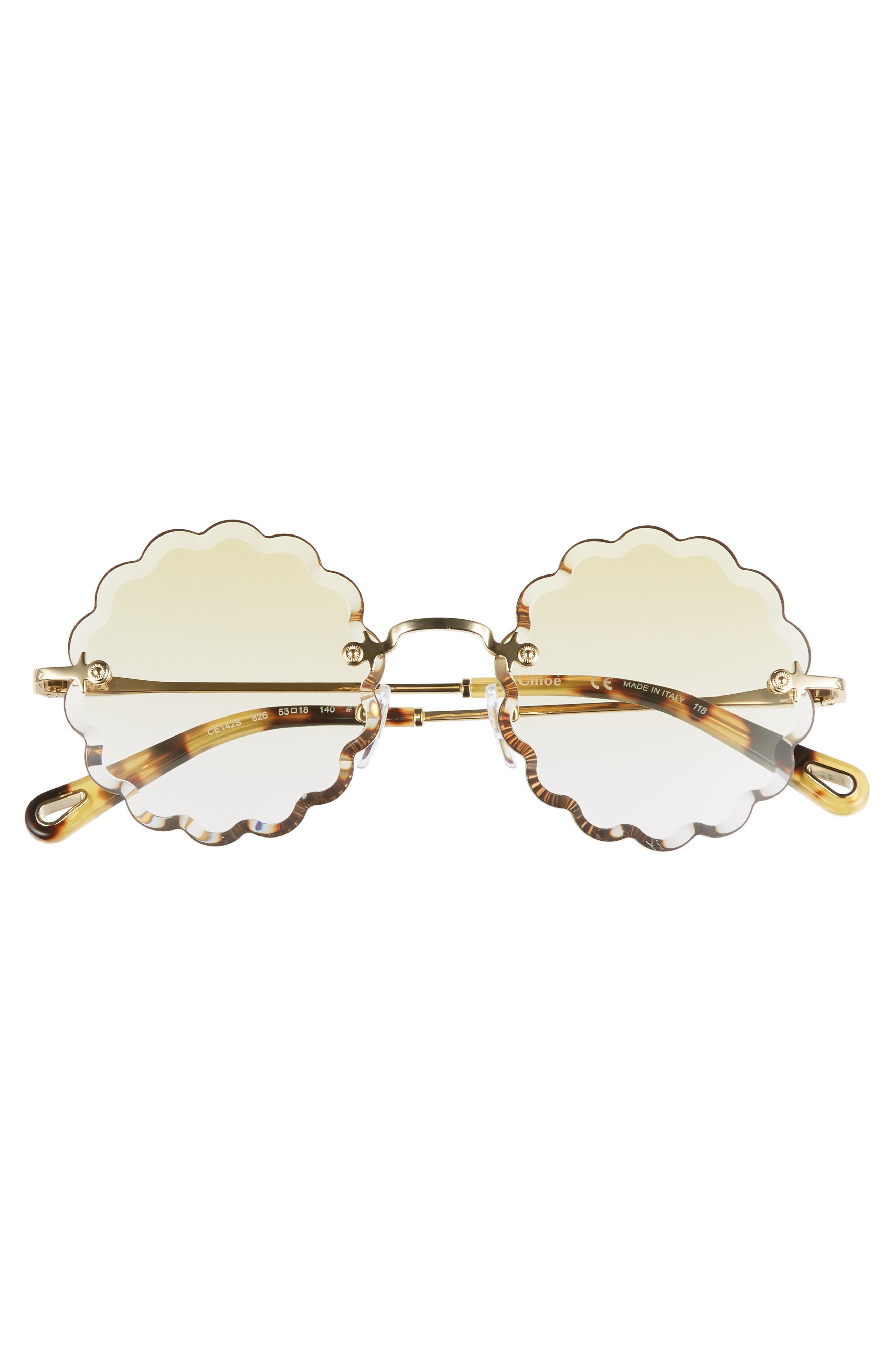CHLOÉ, Rosie 53mm Scalloped Sunglasses, Alternate thumbnail 3, color, GOLD/ GRADIENT YELLOW