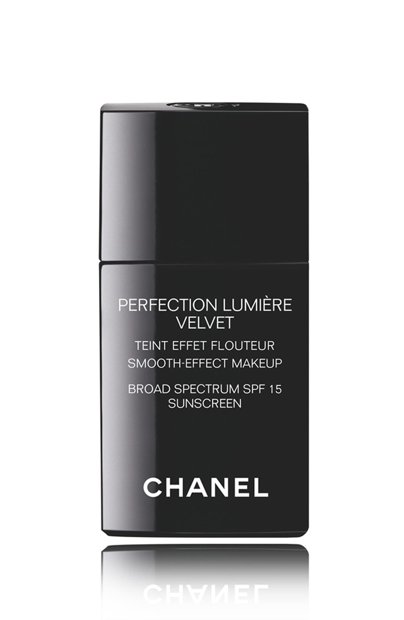 CHANEL, PERFECTION LUMIÈRE VELVET<br />Smooth-Effect Makeup Broad Spectrum SPF 15 Sunscreen, Main thumbnail 1, color, 60 BEIGE