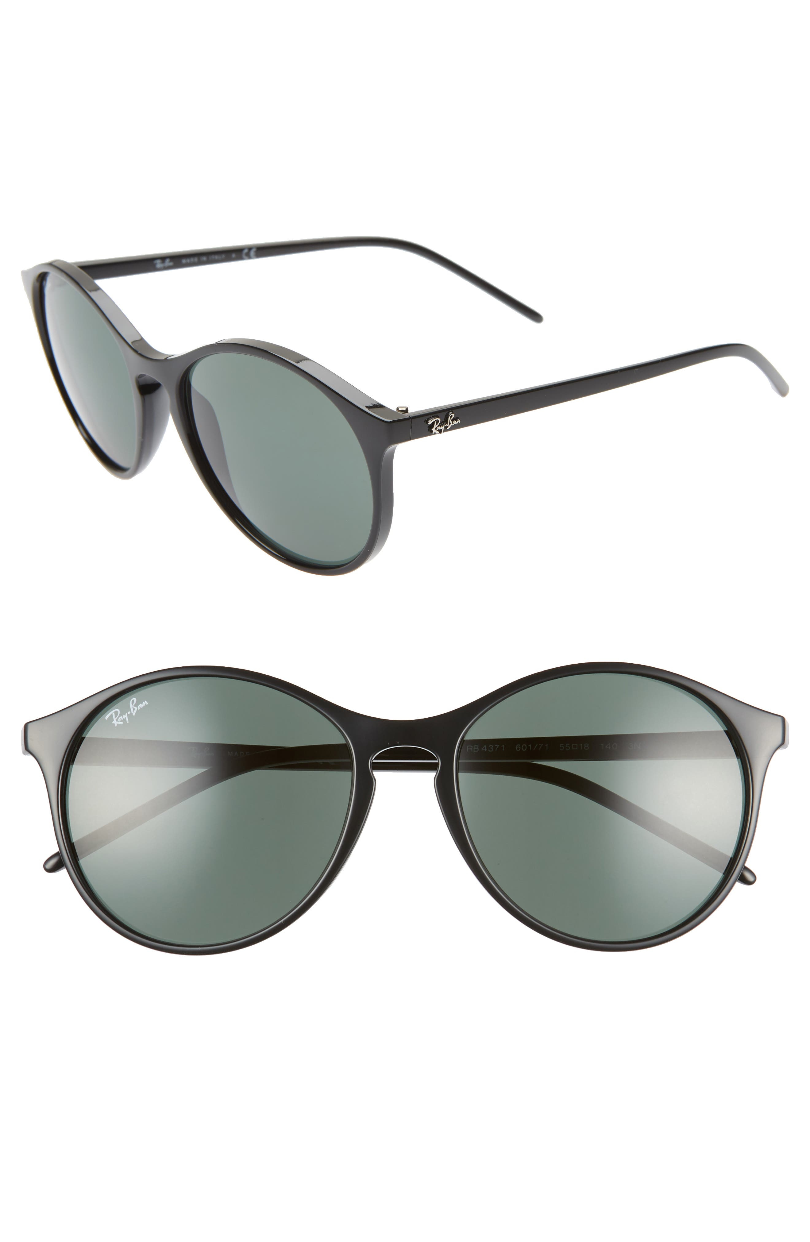 RAY-BAN, Highstreet 55mm Round Sunglasses, Main thumbnail 1, color, BLACK/ GREEN SOLID