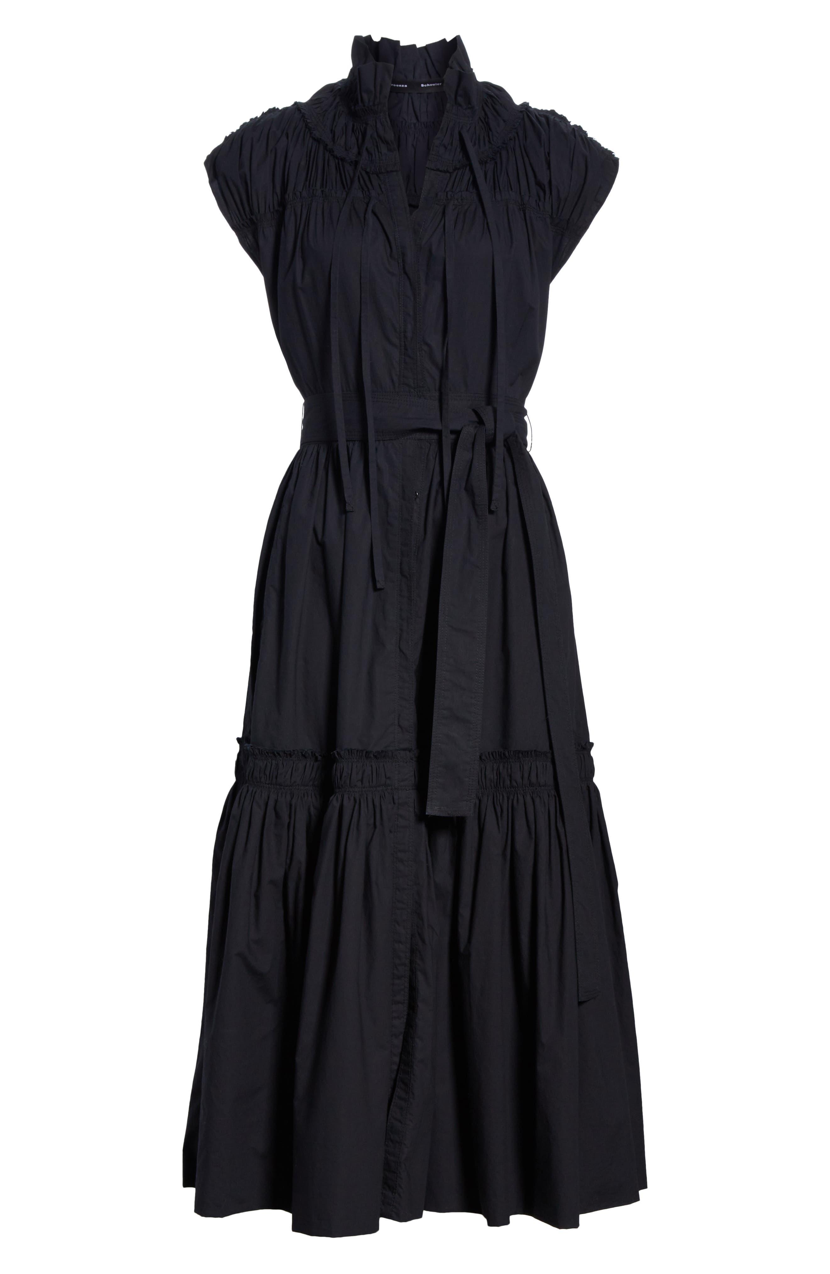 PROENZA SCHOULER, Smocked Poplin Dress, Alternate thumbnail 7, color, BLACK