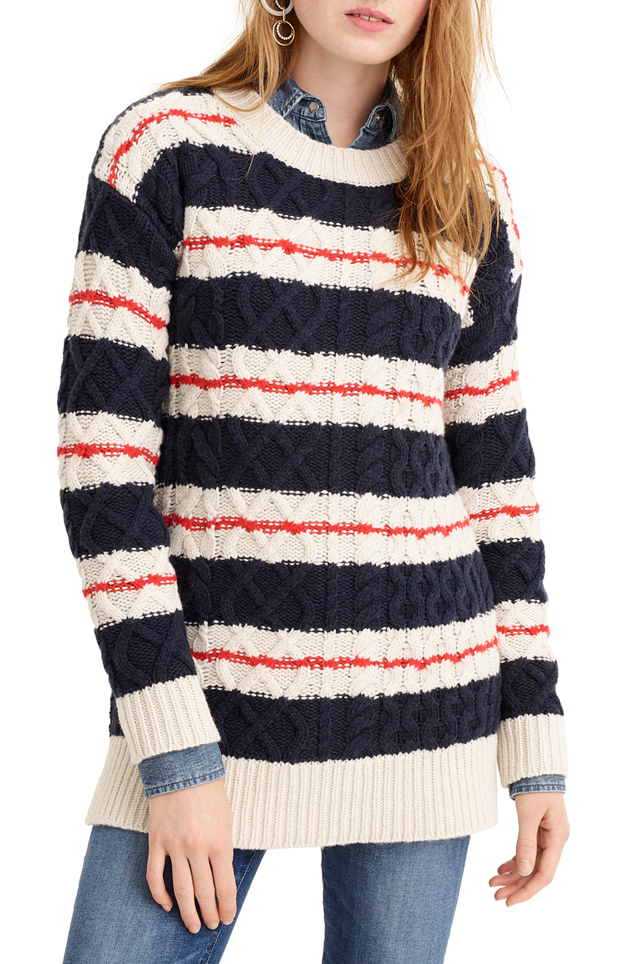 J.CREW, Stripe Cable Knit Tunic Sweater, Main thumbnail 1, color, 400