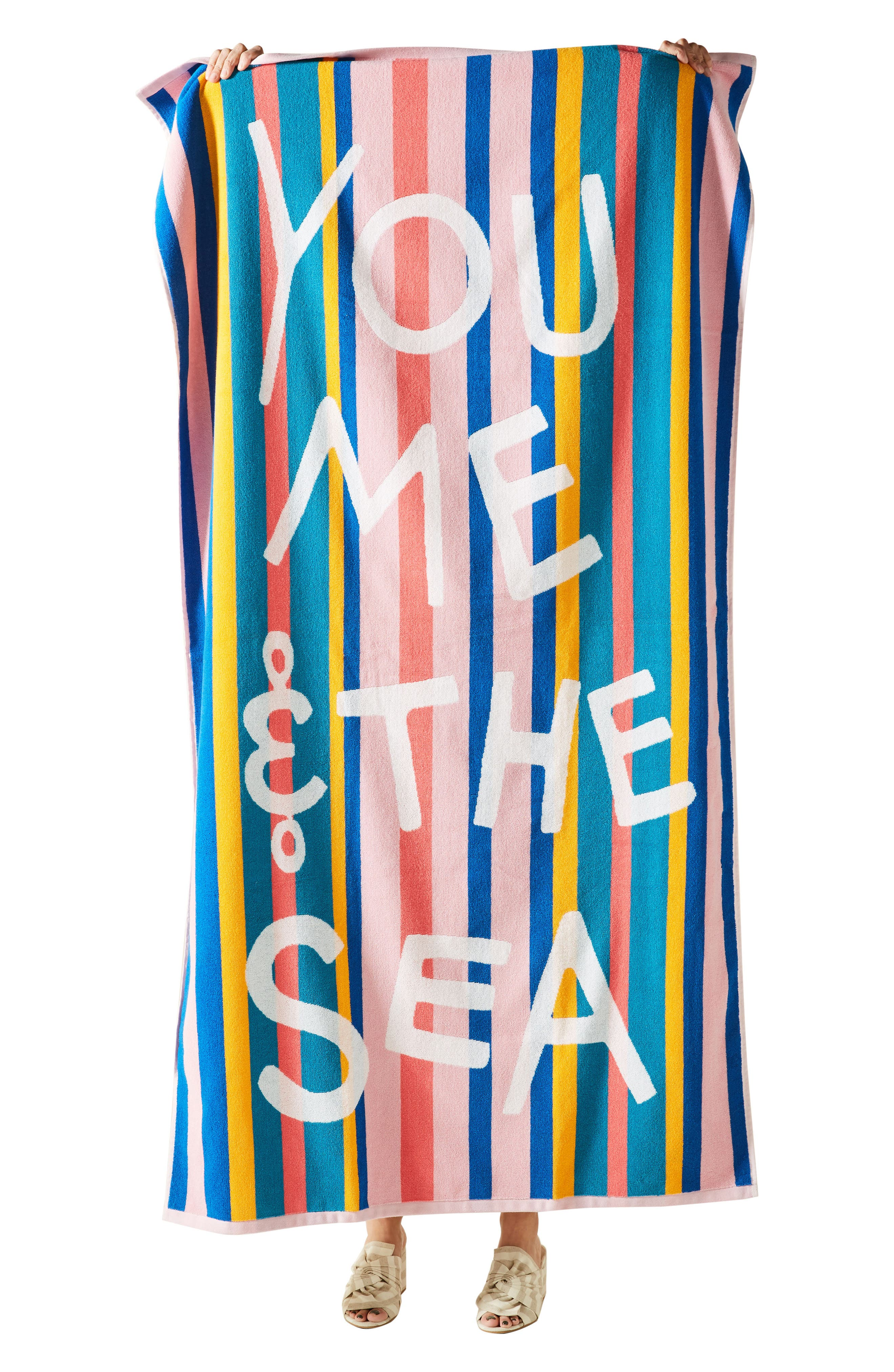 ANTHROPOLOGIE, You, Me & the Sea Beach Towel, Alternate thumbnail 3, color, BLUE