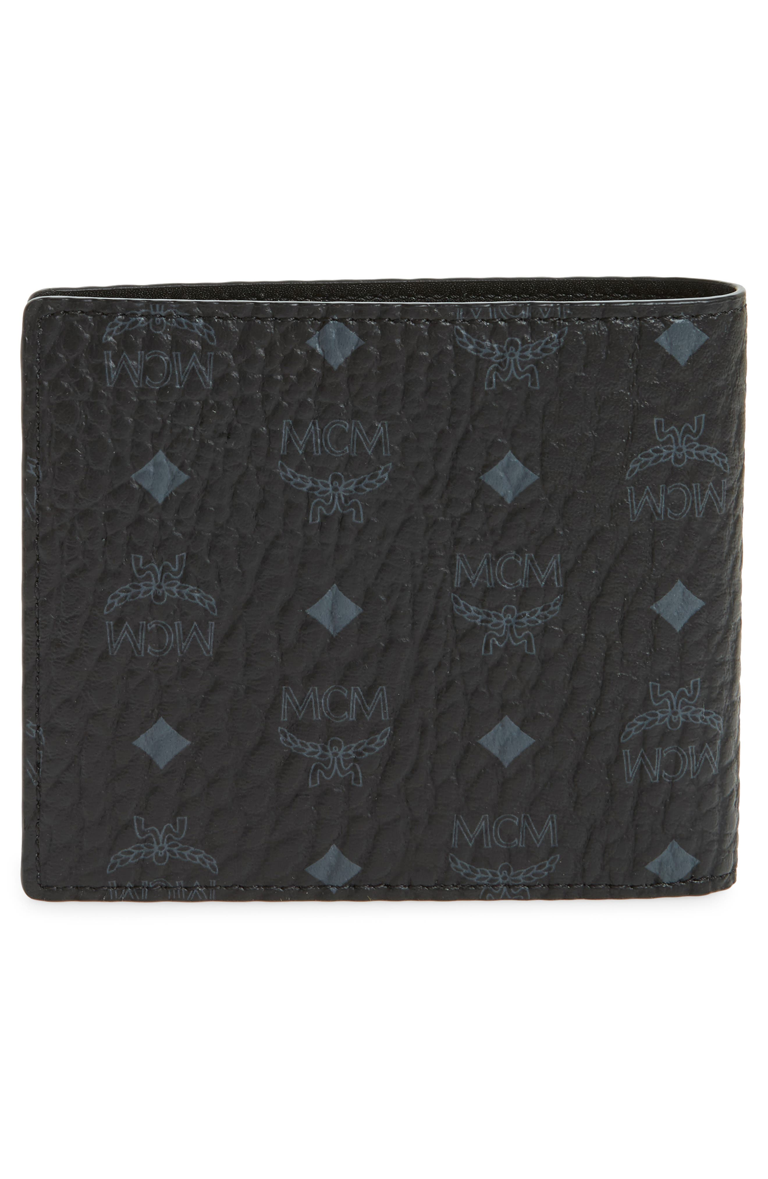 MCM, Logo Coated Canvas & Leather Wallet, Alternate thumbnail 3, color, BLACK