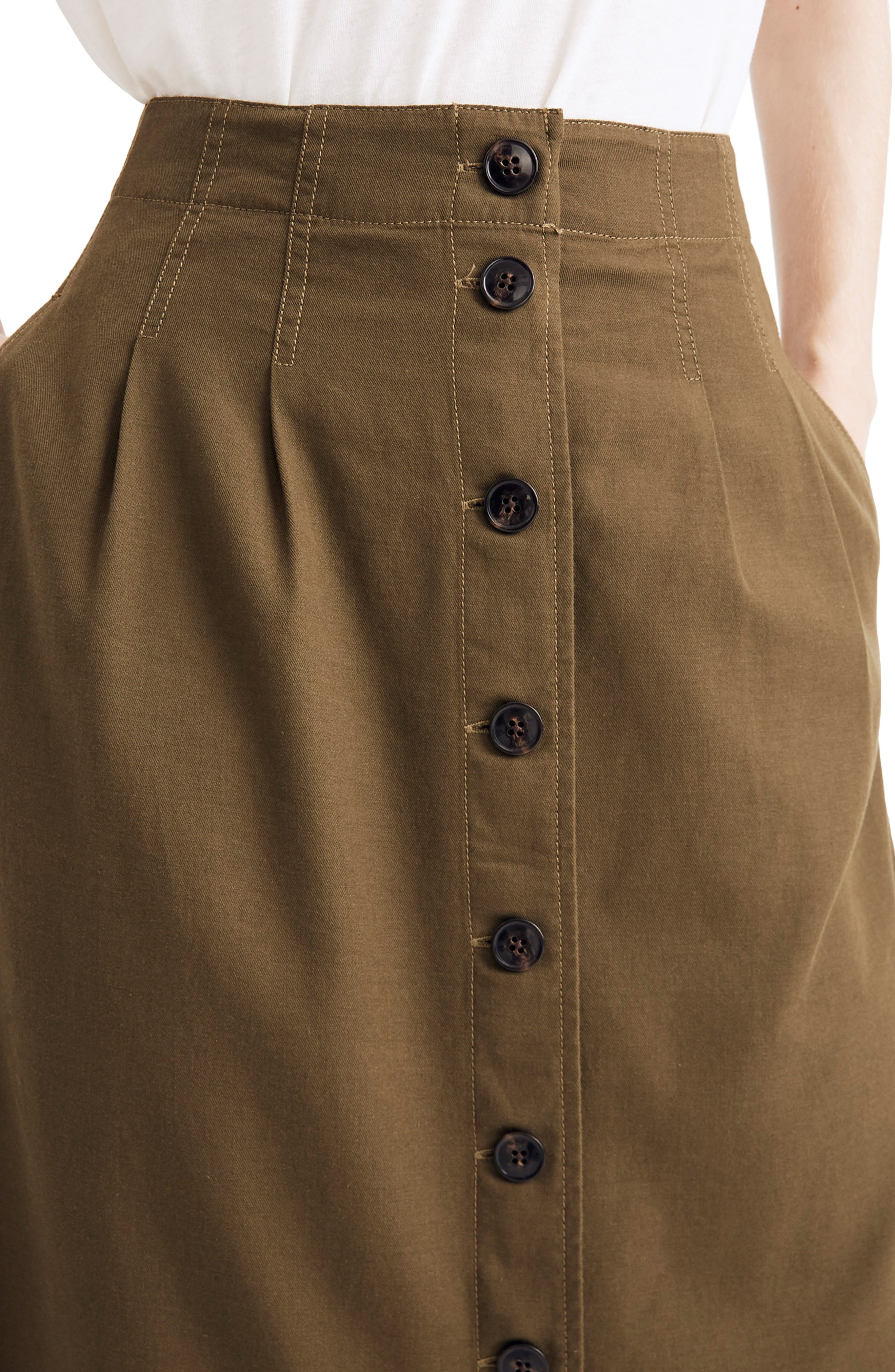 MADEWELL, Patio Button Front Midi Skirt, Alternate thumbnail 4, color, KALE