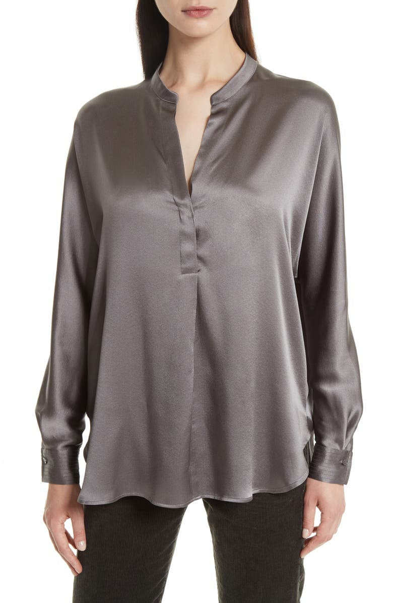 0c067494d0e00b Vince Band Collar Silk Blouse