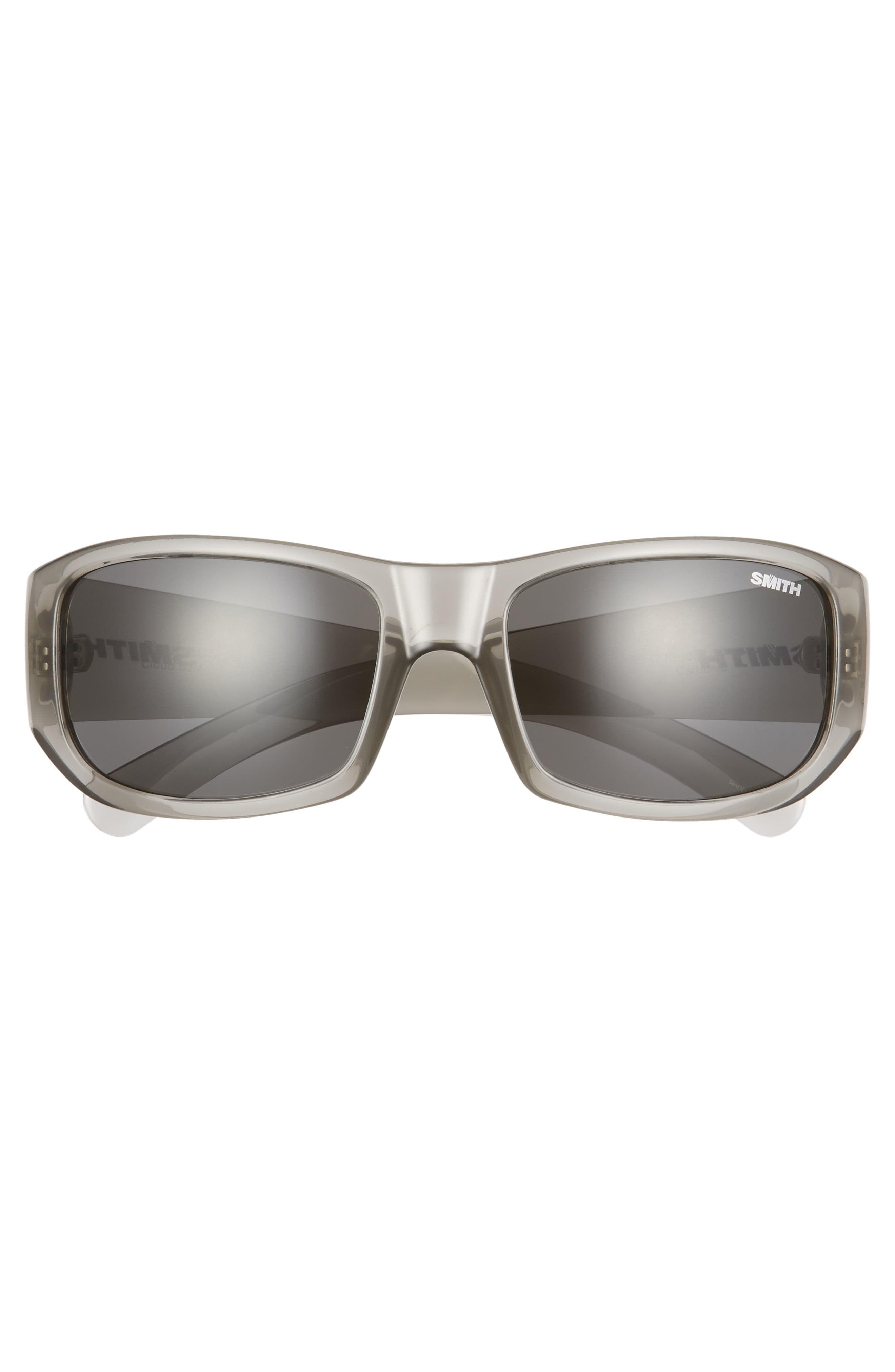 SMITH, Bauhaus 59mm ChromaPop<sup>™</sup> Polarized Wraparound Sunglasses, Alternate thumbnail 3, color, GREY CLOUD/ GREY