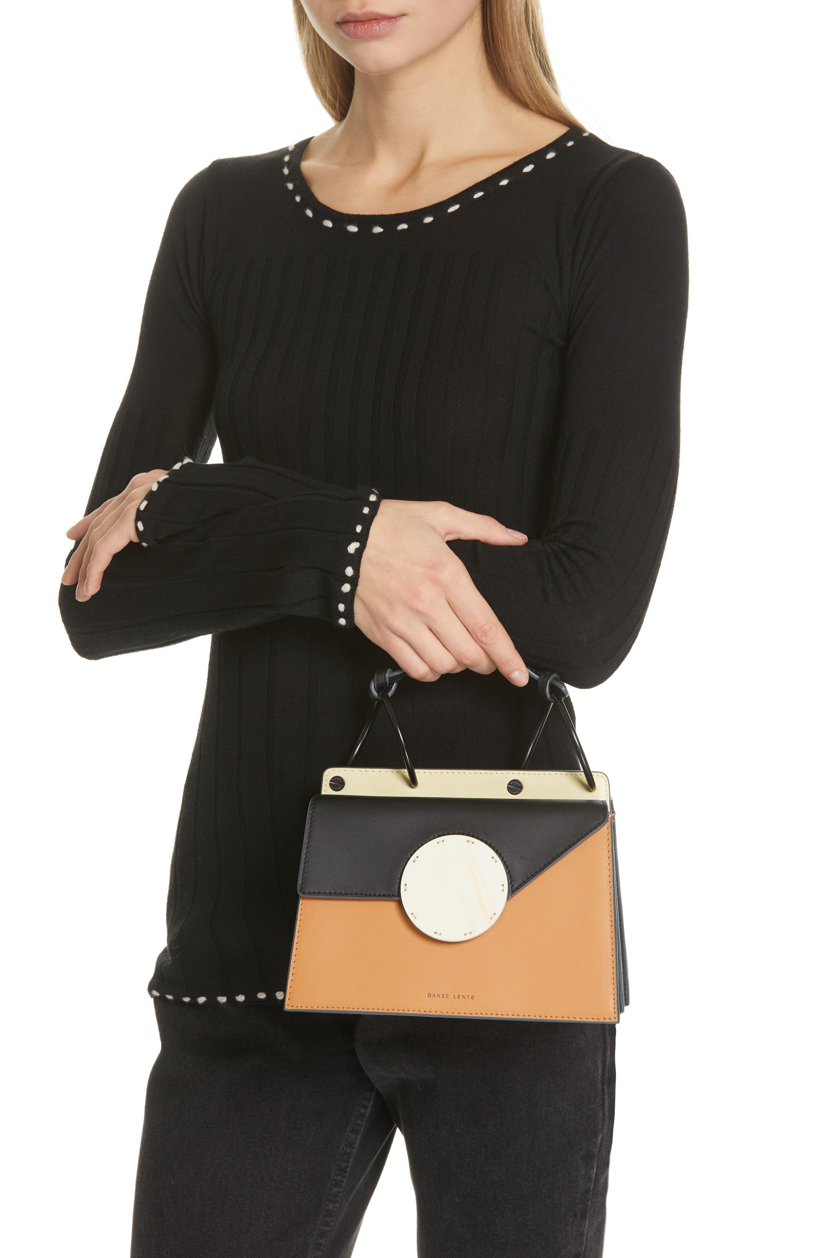 DANSE LENTE, Phoebe Bis Acetate Closure Crossbody Bag, Alternate thumbnail 3, color, TOFFEE/ BLACK