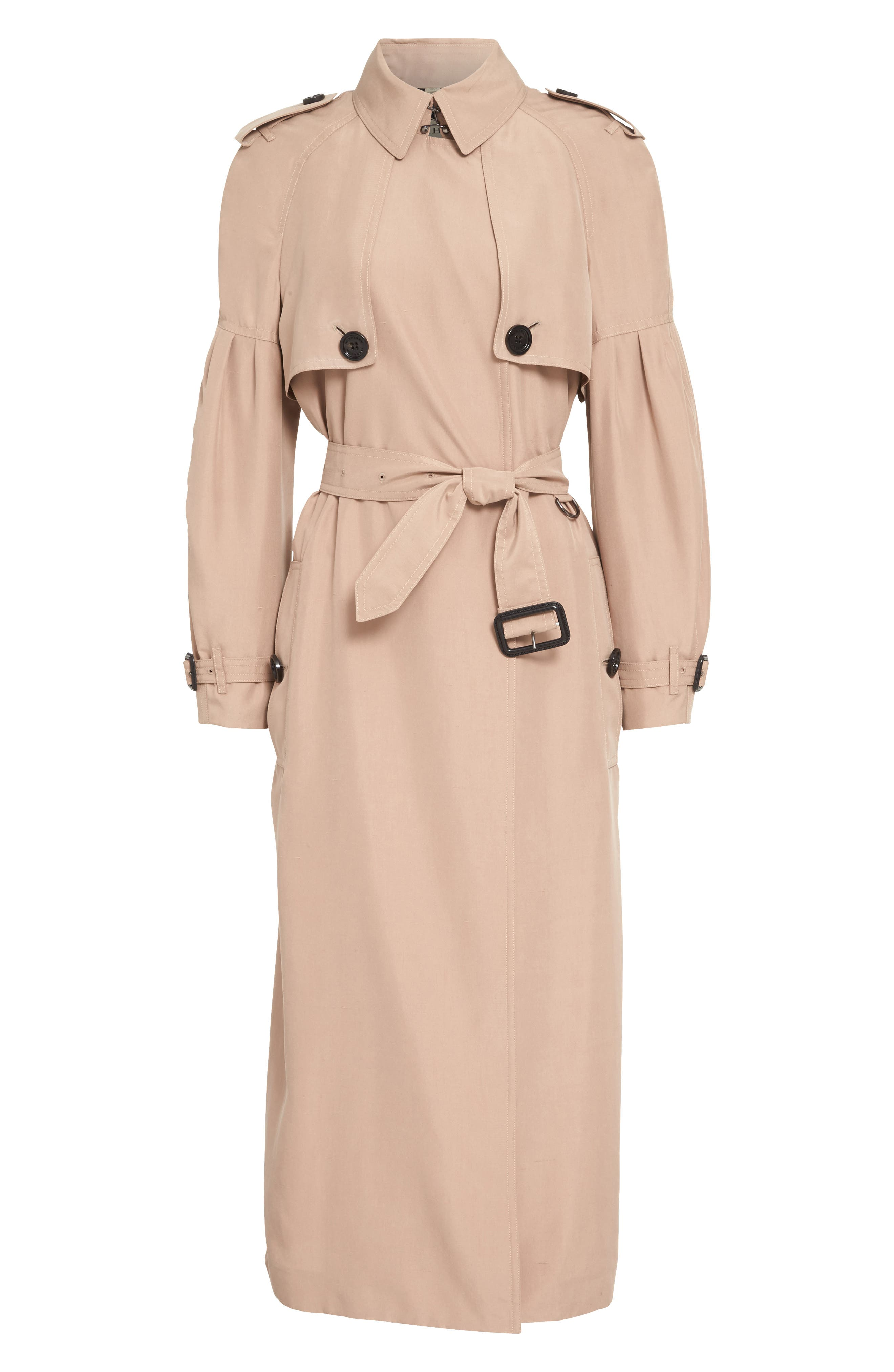 BURBERRY, Maythorne Mulberry Silk Trench, Alternate thumbnail 6, color, 250