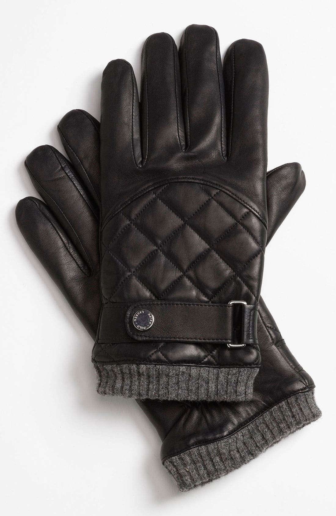 POLO RALPH LAUREN, Quilted Gloves, Main thumbnail 1, color, 001