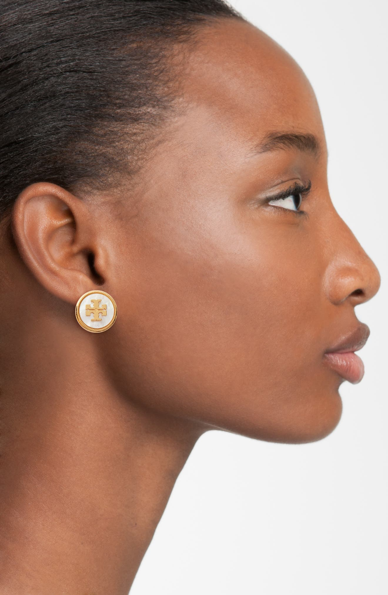 TORY BURCH, Semiprecious Stone Stud Earrings, Alternate thumbnail 2, color, MOTHER OF PEARL / VINTAGE GOLD