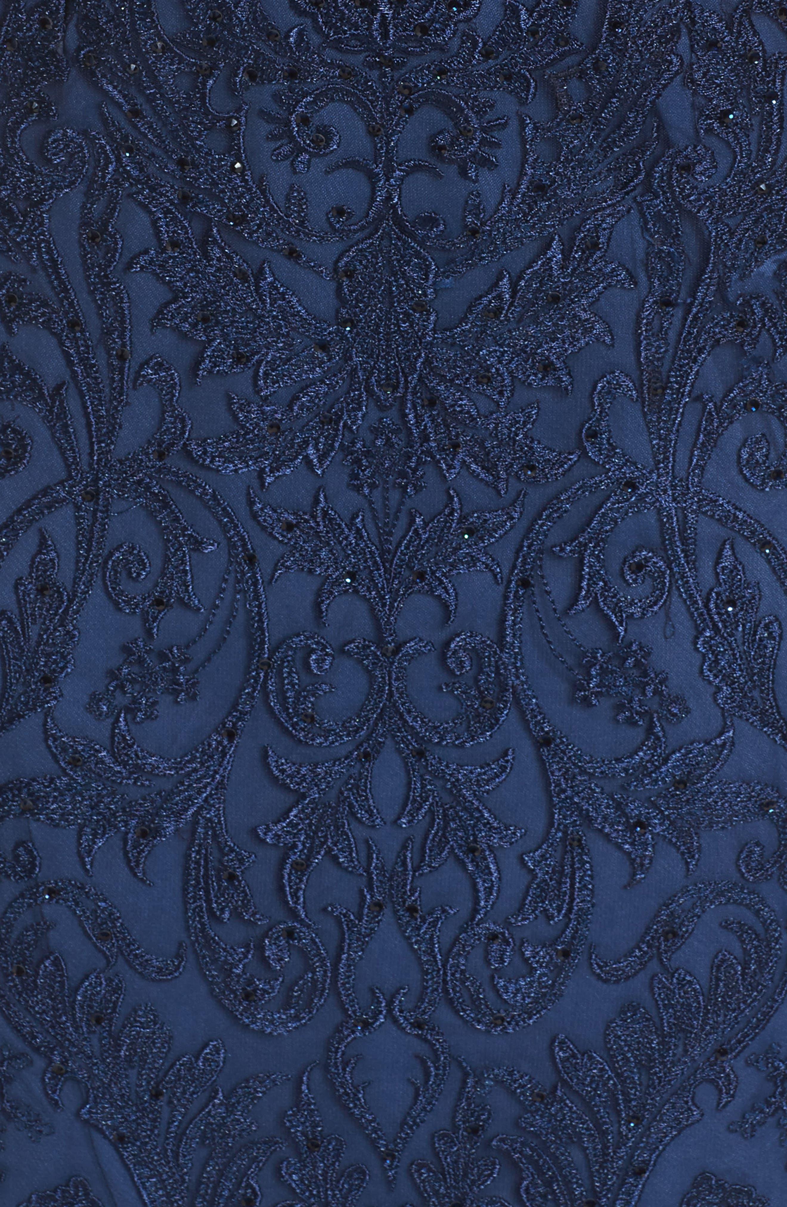 LA FEMME, Beaded Lace Sheath Dress, Alternate thumbnail 5, color, SLATE BLUE