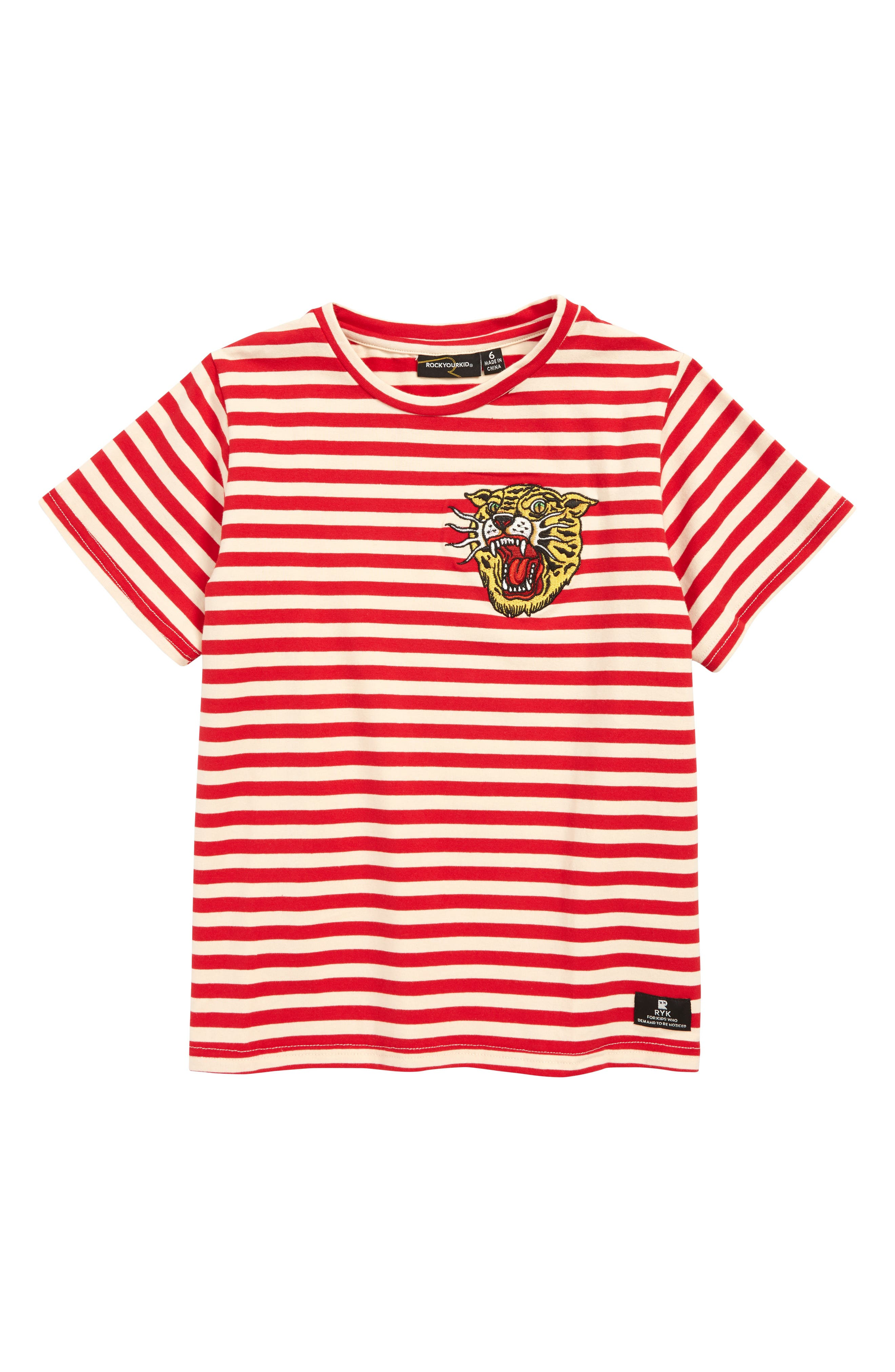 ROCK YOUR KID Tiger Stripe T-Shirt, Main, color, 640