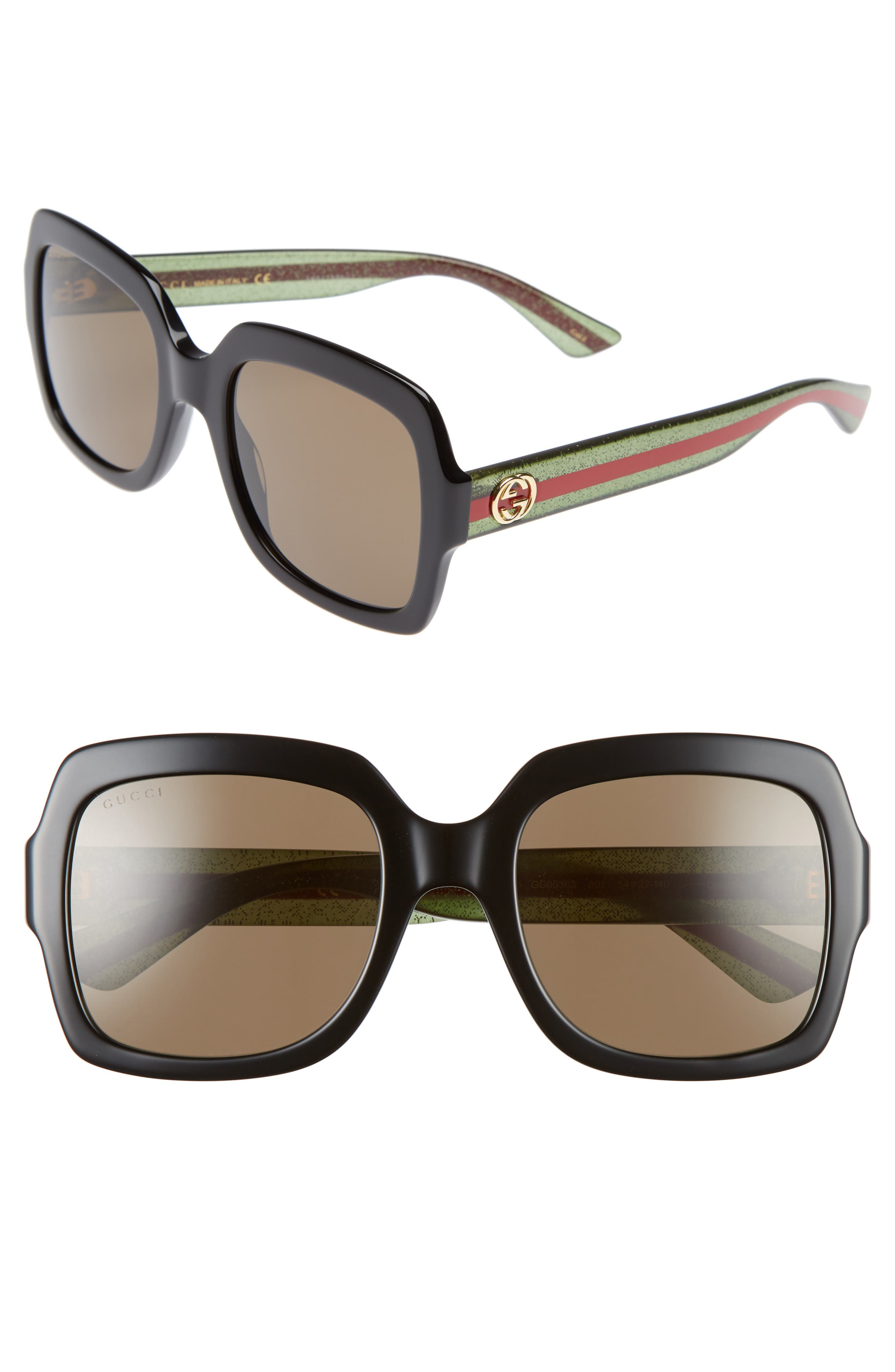 GUCCI, 54mm Square Sunglasses, Main thumbnail 1, color, BLACK/ BROWN