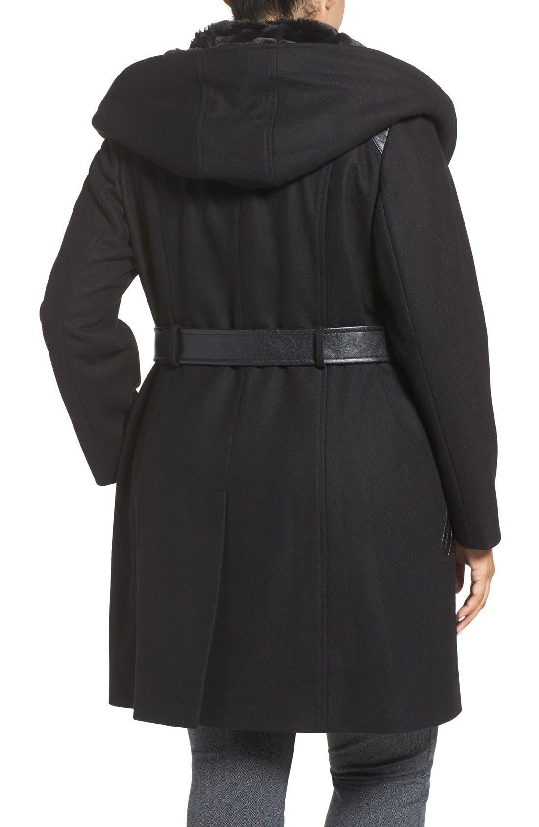 VIA SPIGA, Wool Blend Coat with Faux Fur Trim, Alternate thumbnail 2, color, 001