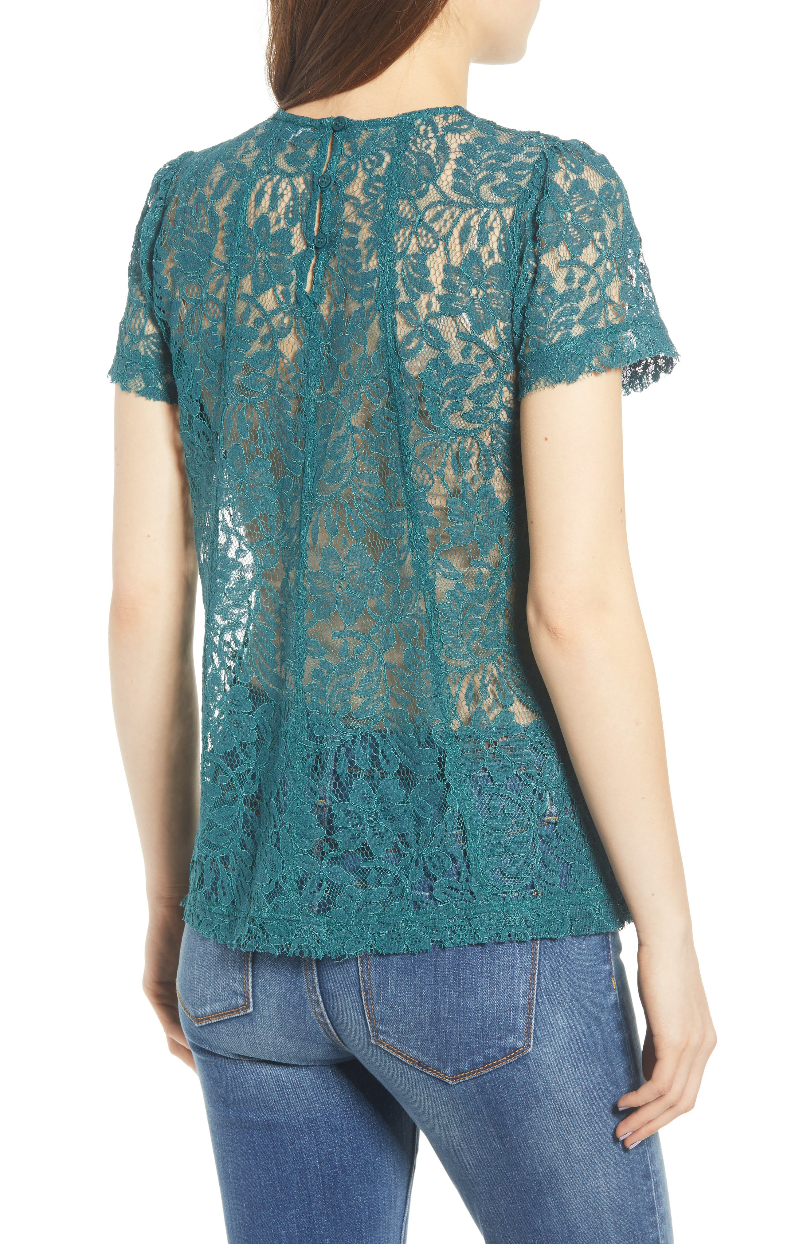 CHELSEA28, Lace Top, Alternate thumbnail 2, color, TEAL BALSAM