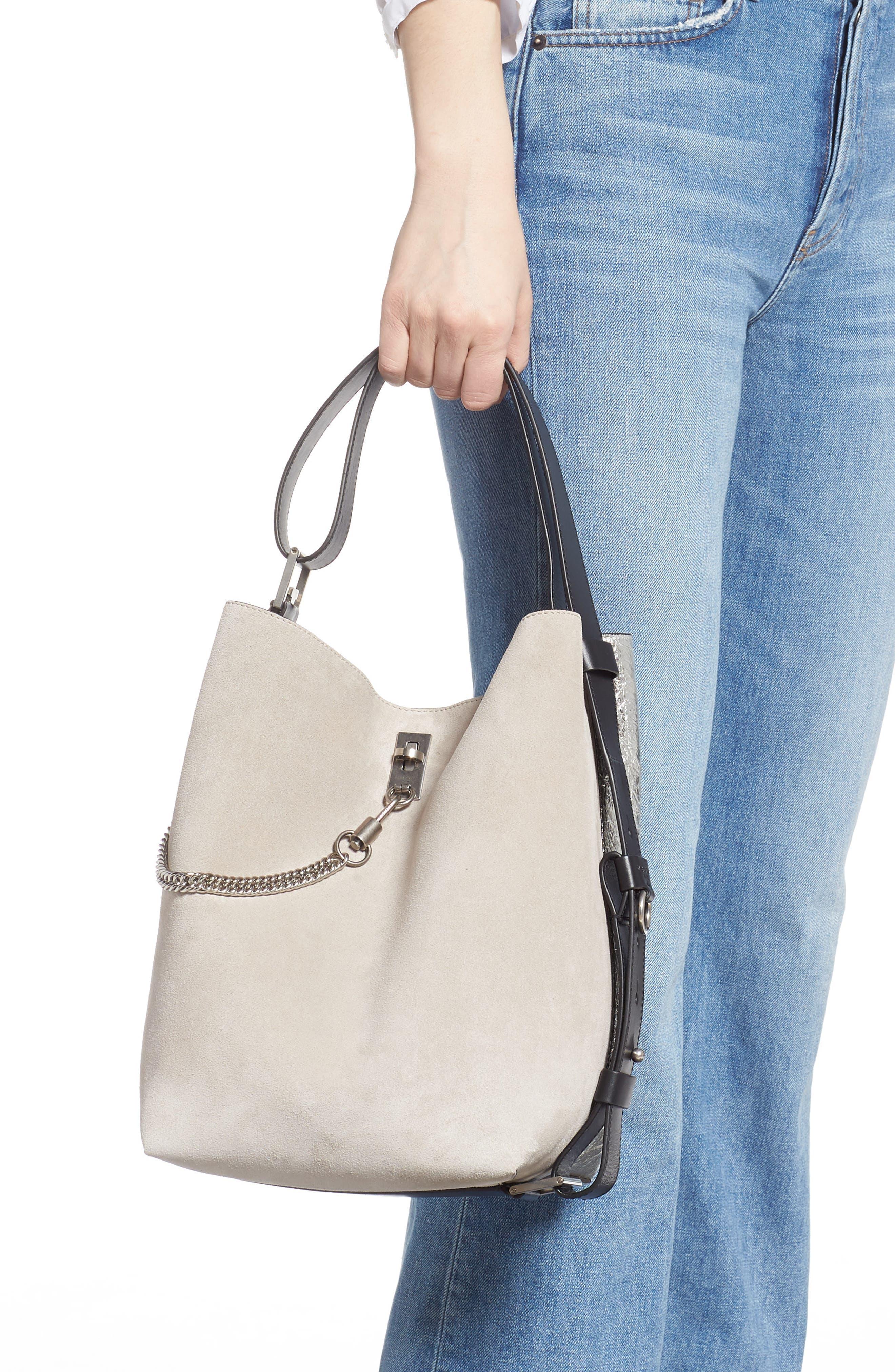 GIVENCHY, Medium GV Calfskin Suede Bucket Bag, Alternate thumbnail 2, color, NATURAL/ SILVER