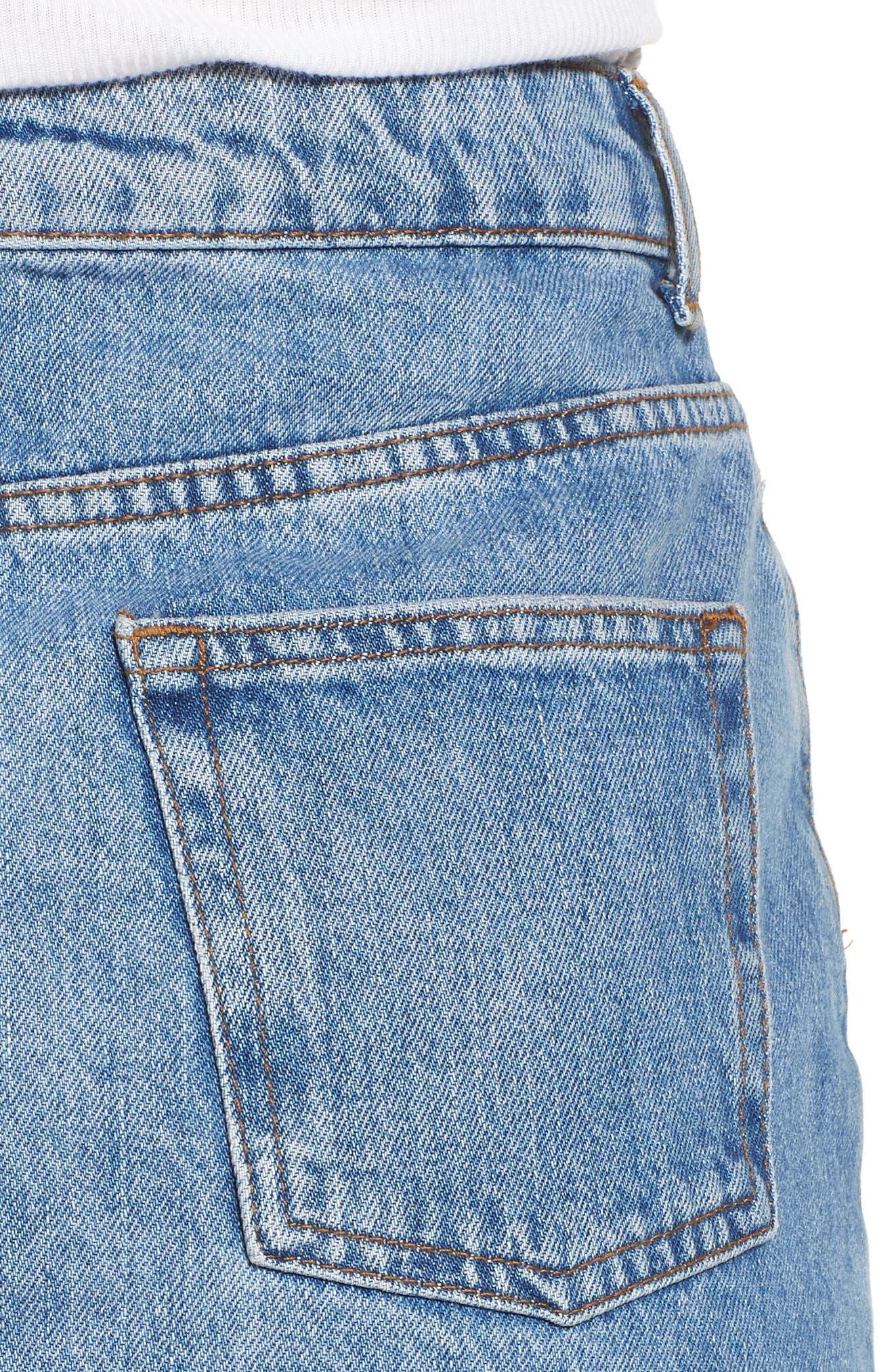TOPSHOP, Denim Miniskirt, Alternate thumbnail 5, color, MID DENIM
