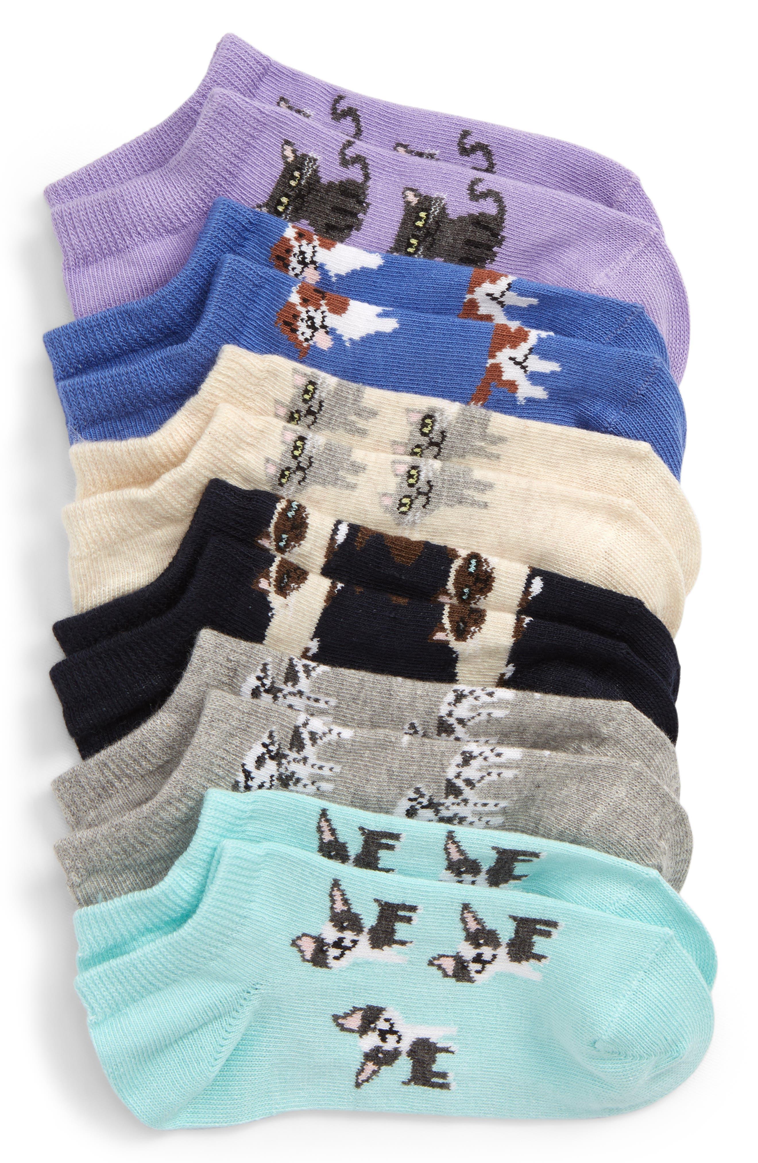TUCKER + TATE, 6-Pack Low Cut Socks, Main thumbnail 1, color, GREY MEDIUM HEATHER DALMATION