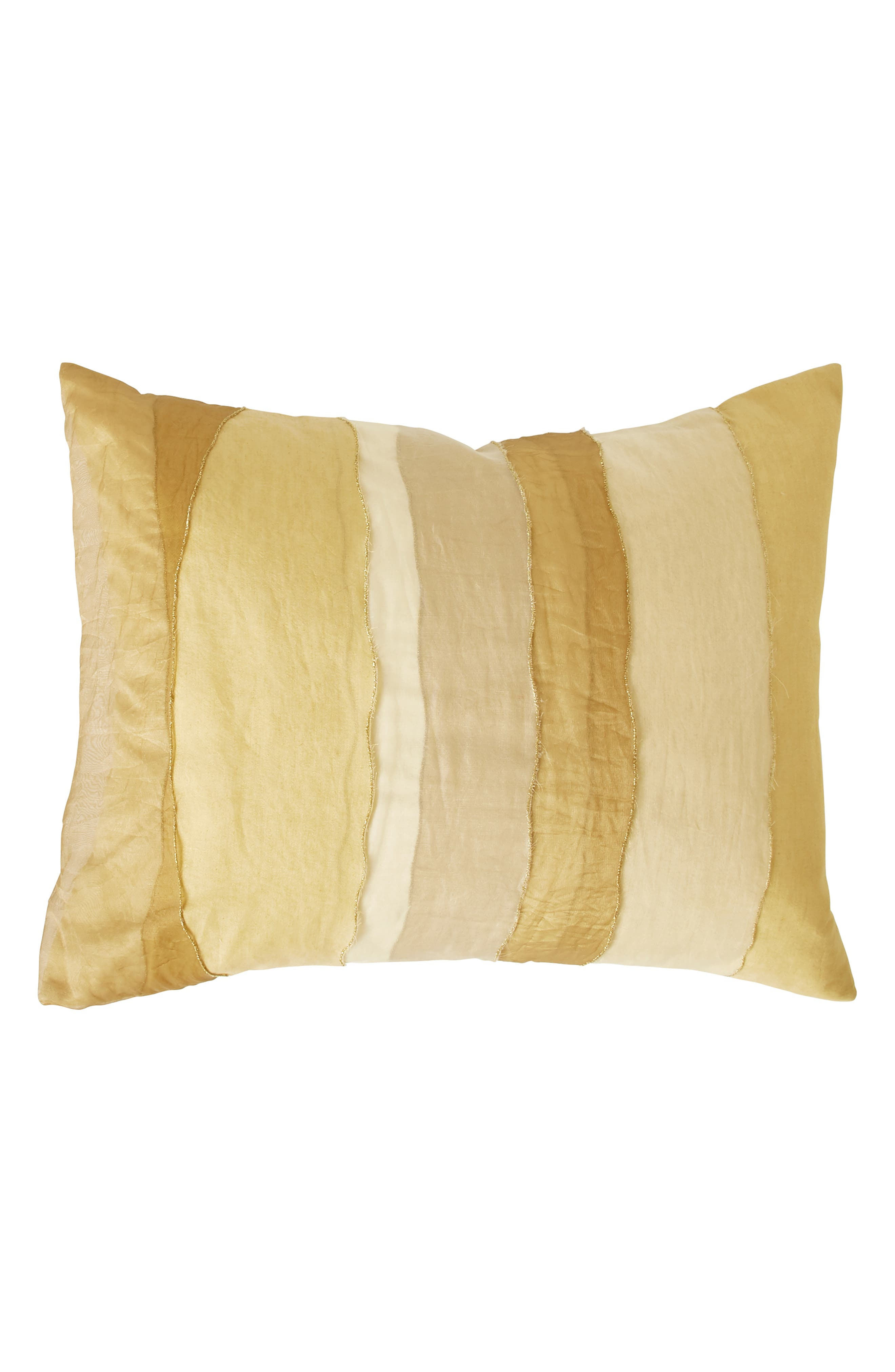 DONNA KARAN NEW YORK Gilded Sheer Layered Accent Pillow, Main, color, GOLD