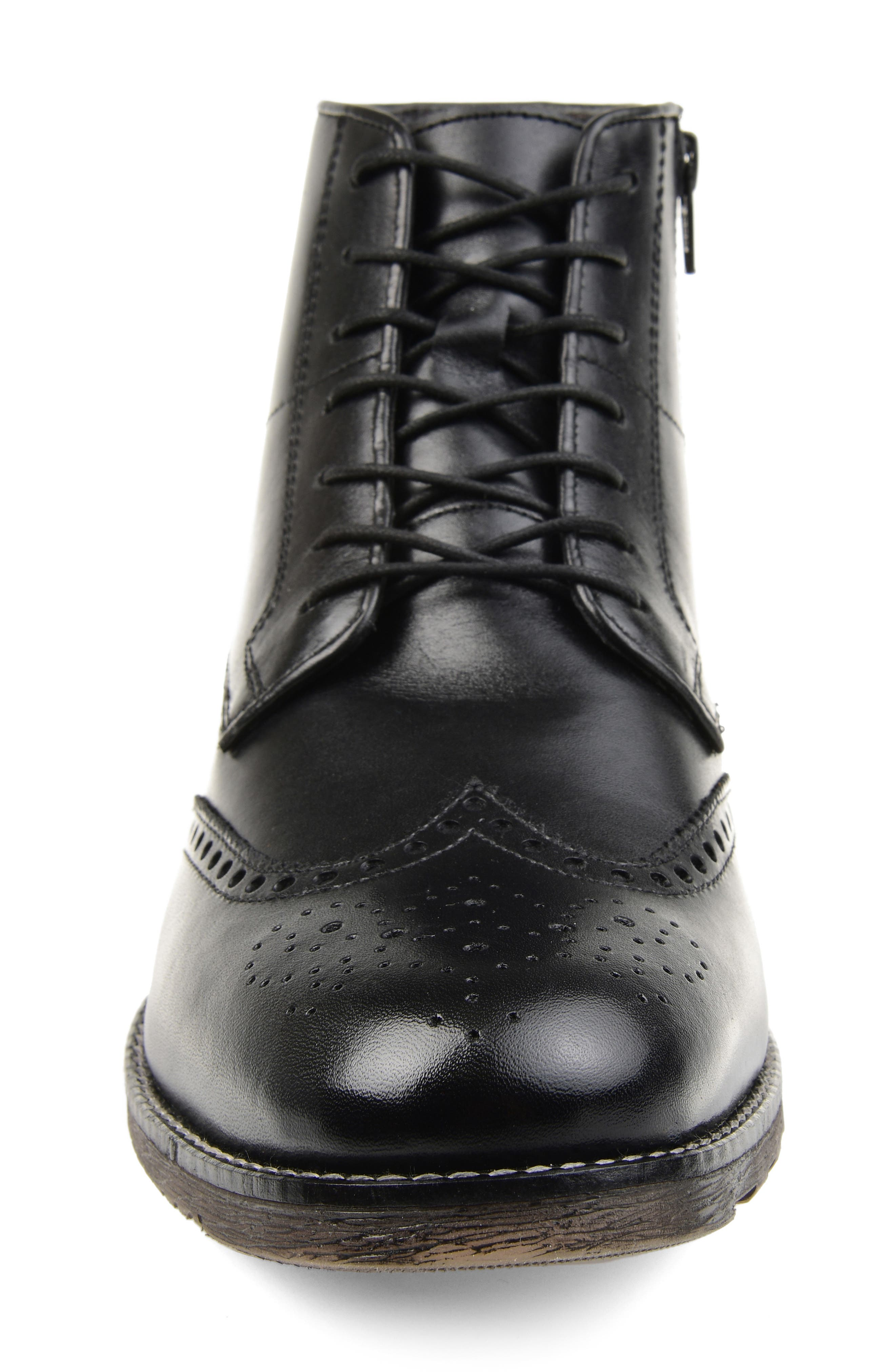 THOMAS AND VINE, Ryker Wingtip Boot, Alternate thumbnail 4, color, BLACK LEATHER