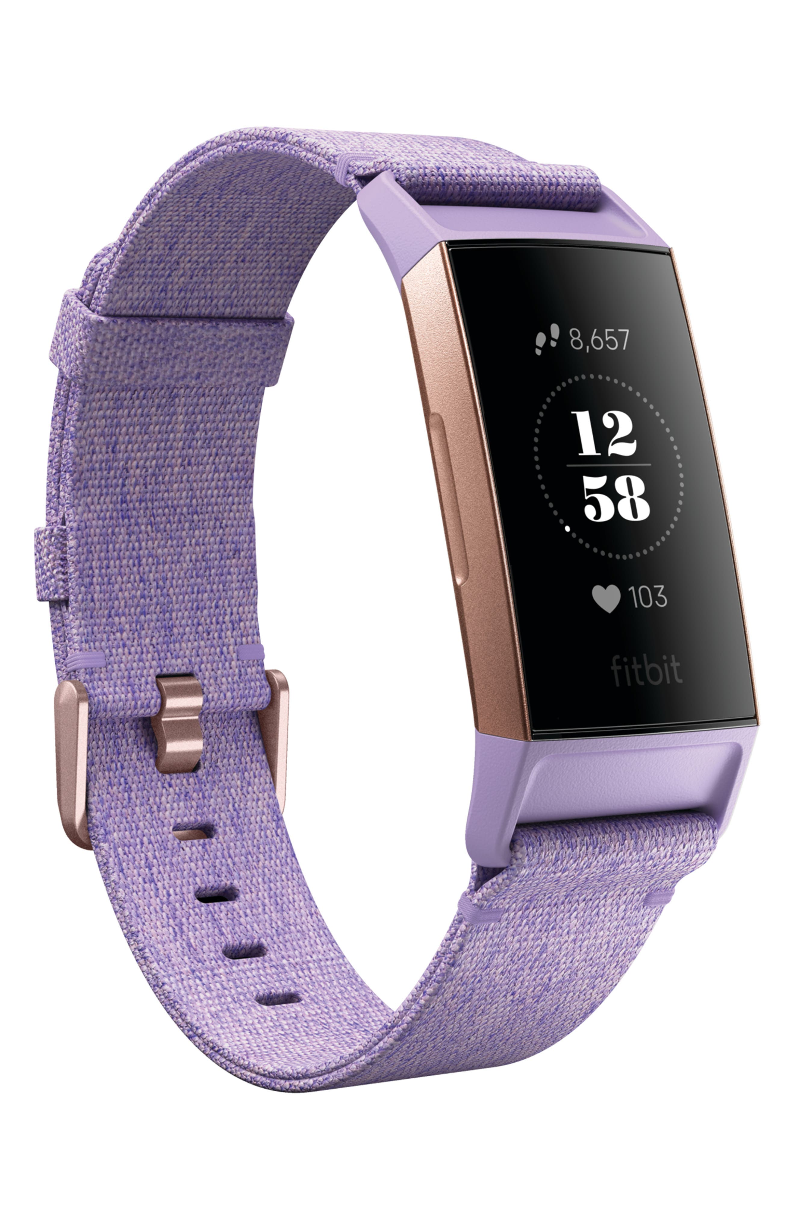 FITBIT, Charge 3 Special Edition Wireless Activity & Heart Rate Tracker, Alternate thumbnail 4, color, LAVENDER