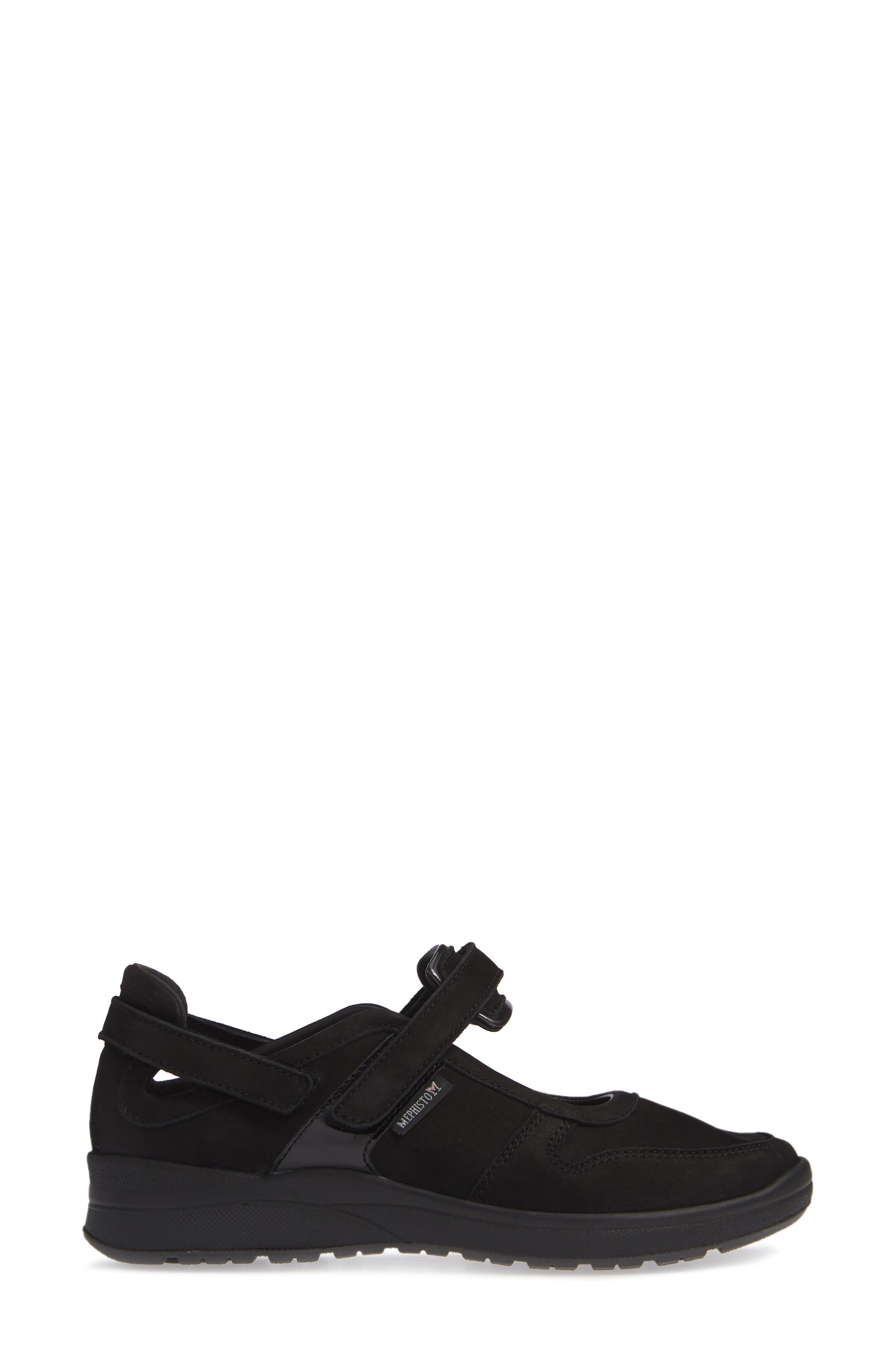 MEPHISTO, Rejine Sneaker, Alternate thumbnail 3, color, BLACK FABRIC